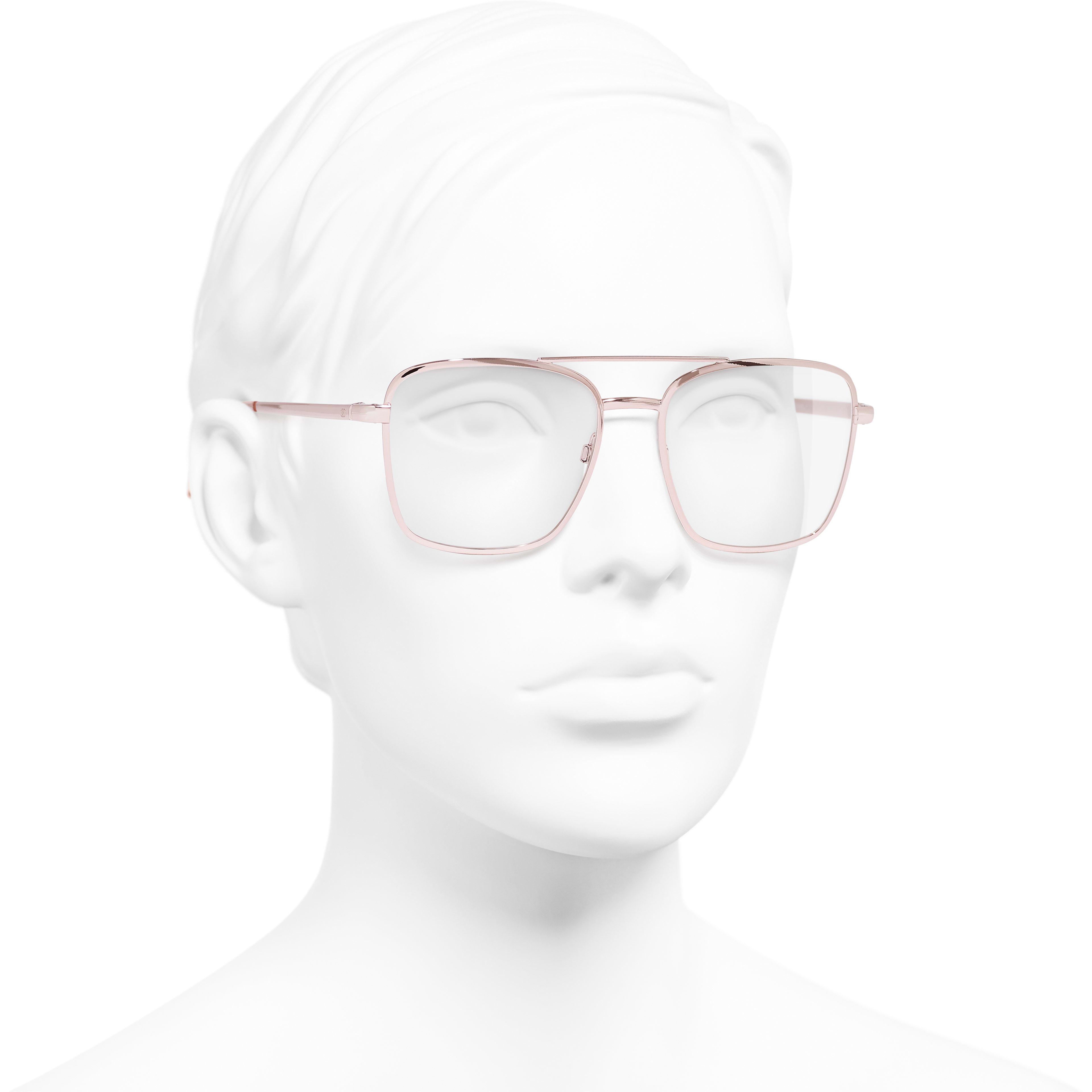Pilot Eyeglasses - Pink - Metal - Worn 3/4 view - see standard sized version