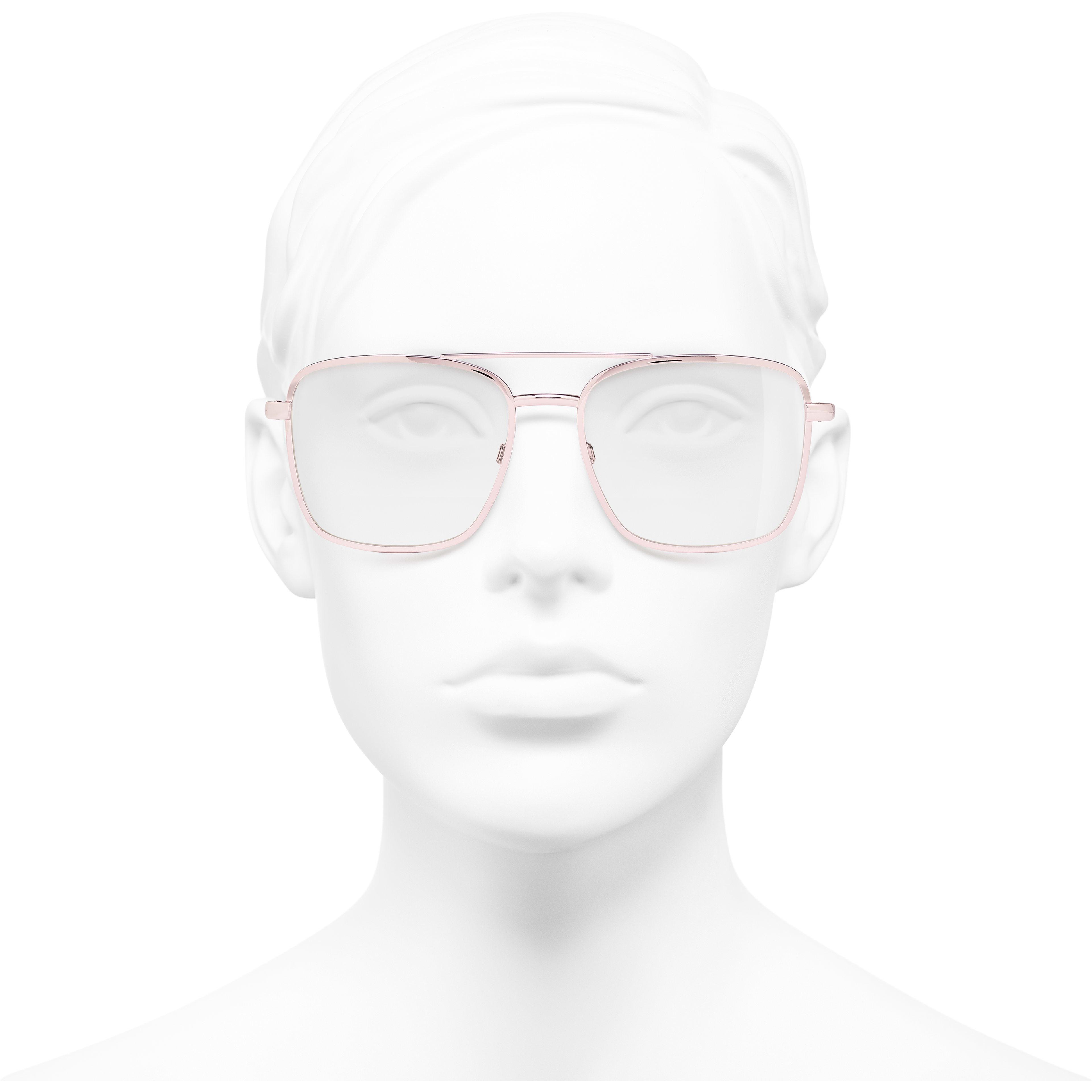 Pilot Eyeglasses - Pink - Metal - Worn front view - see standard sized version