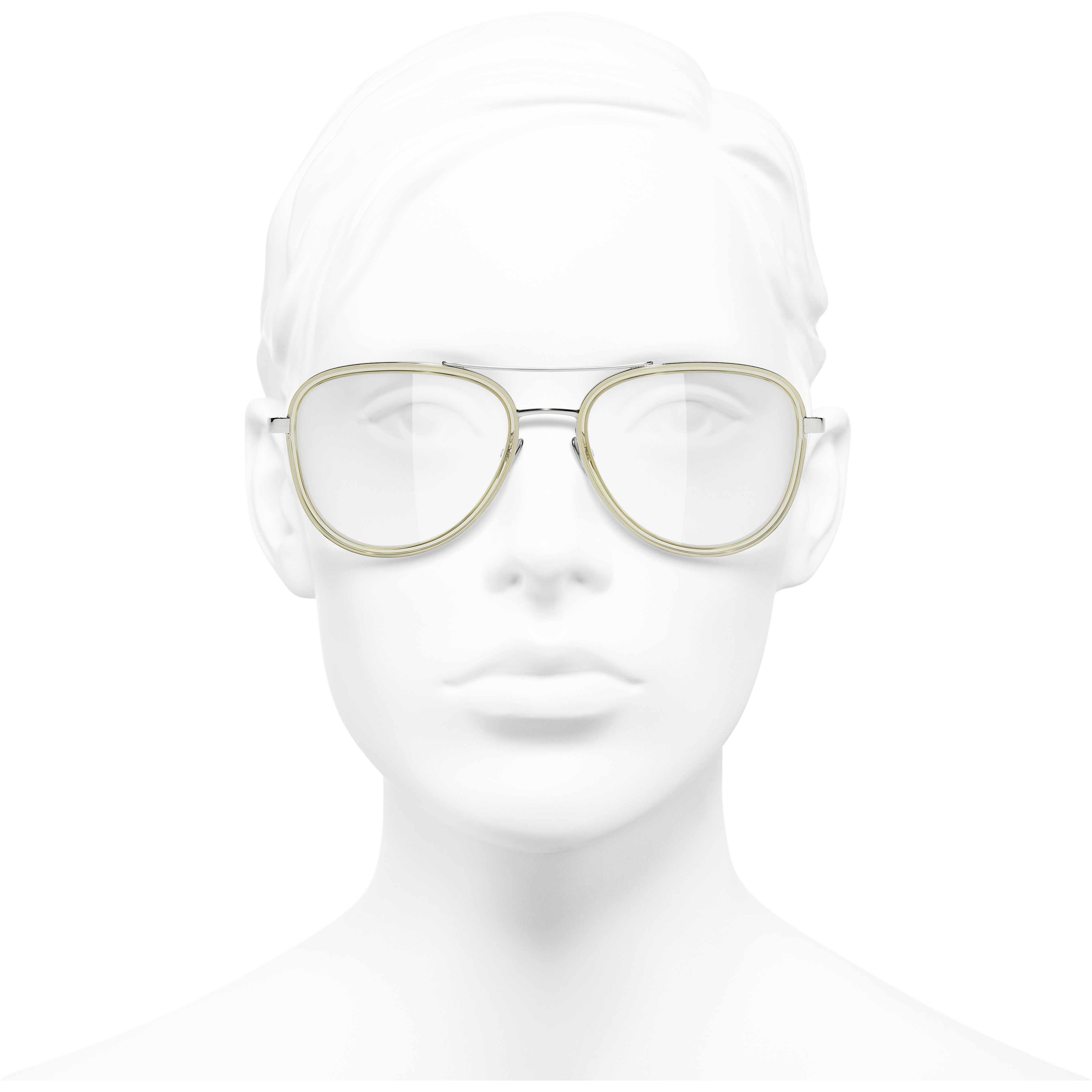 Pilot Eyeglasses - Silver & Beige - Metal - CHANEL - Worn front view - see standard sized version