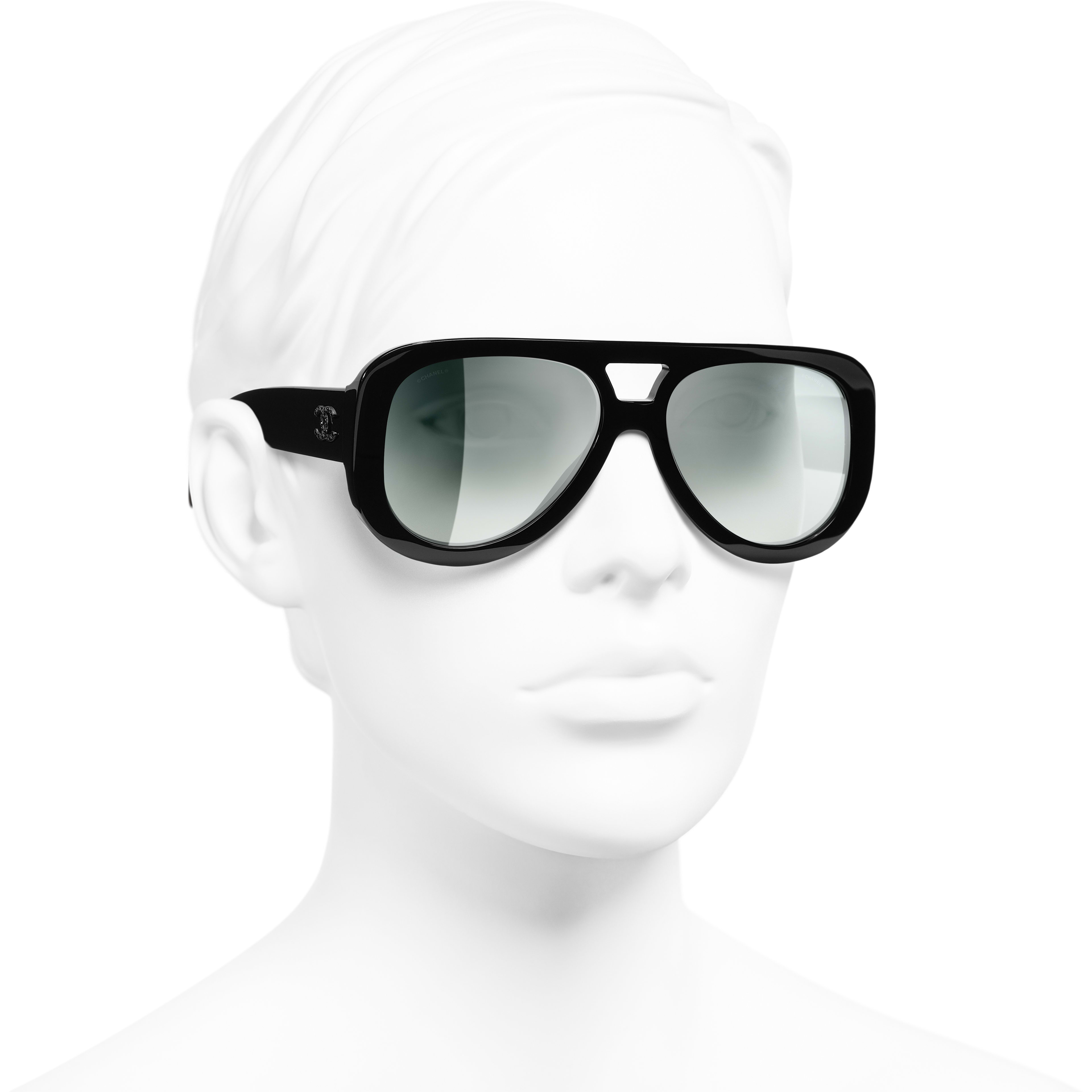 Pilot Sunglasses - Black - Acetate & Diamanté - CHANEL - Worn 3/4 view - see standard sized version