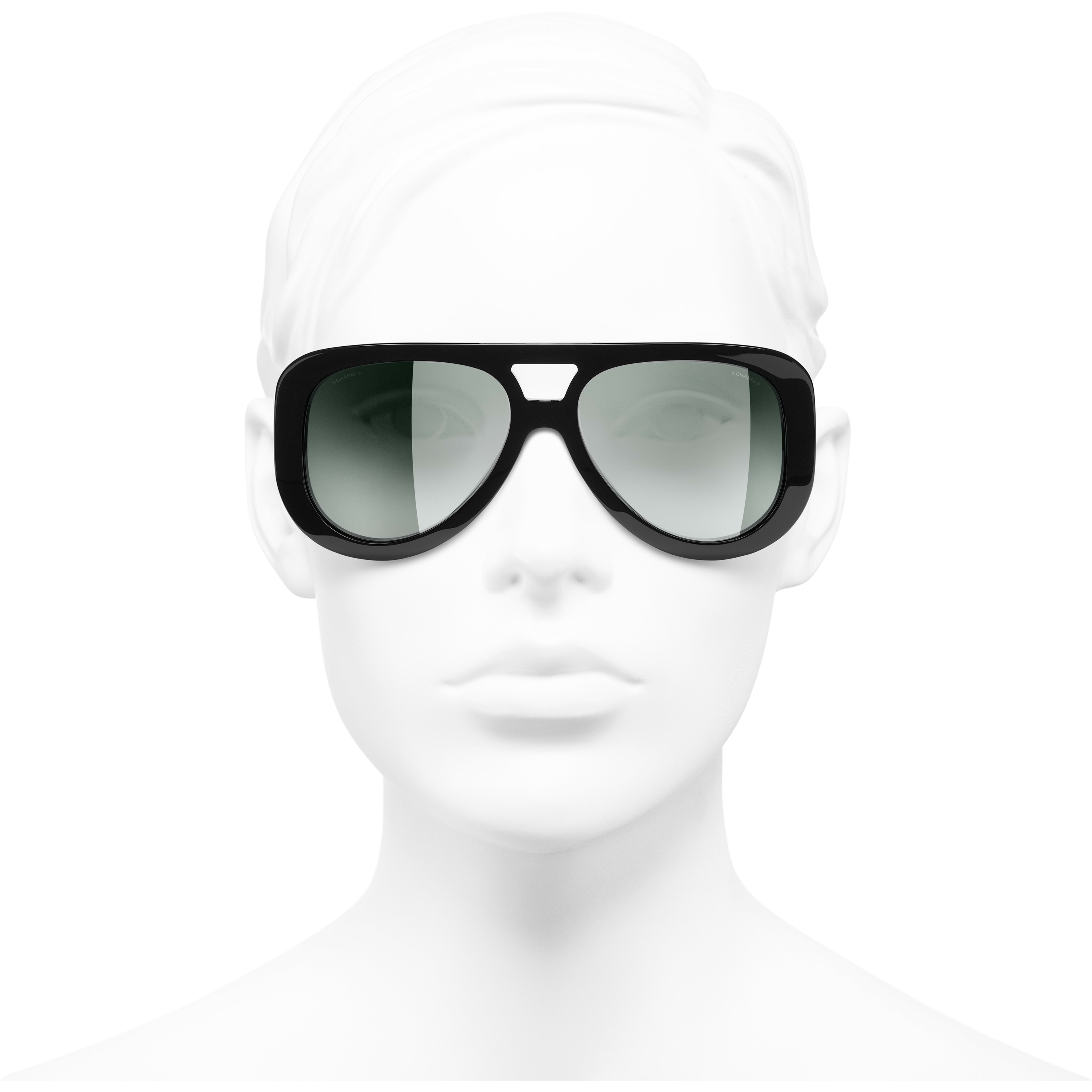 Pilot Sunglasses - Black - Acetate & Diamanté - CHANEL - Worn front view - see standard sized version
