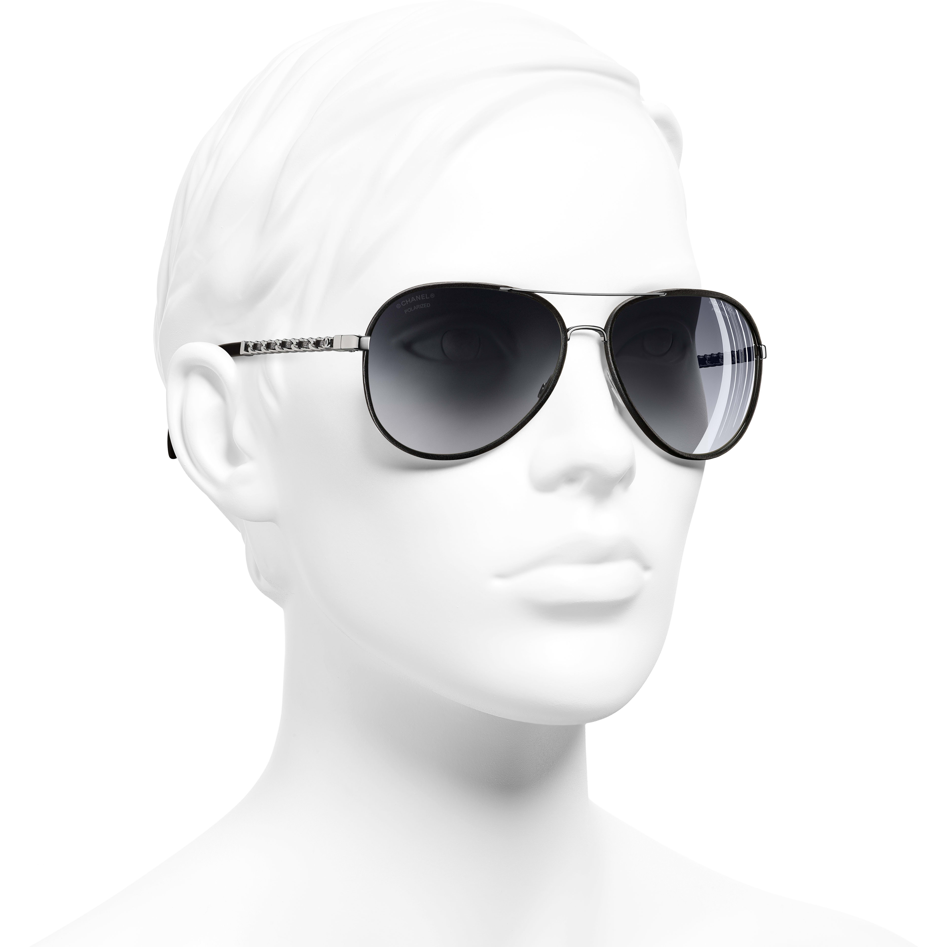 Pilot Sunglasses - Black - Metal & Calfskin - Polarised Lenses - CHANEL - Worn 3/4 view - see standard sized version