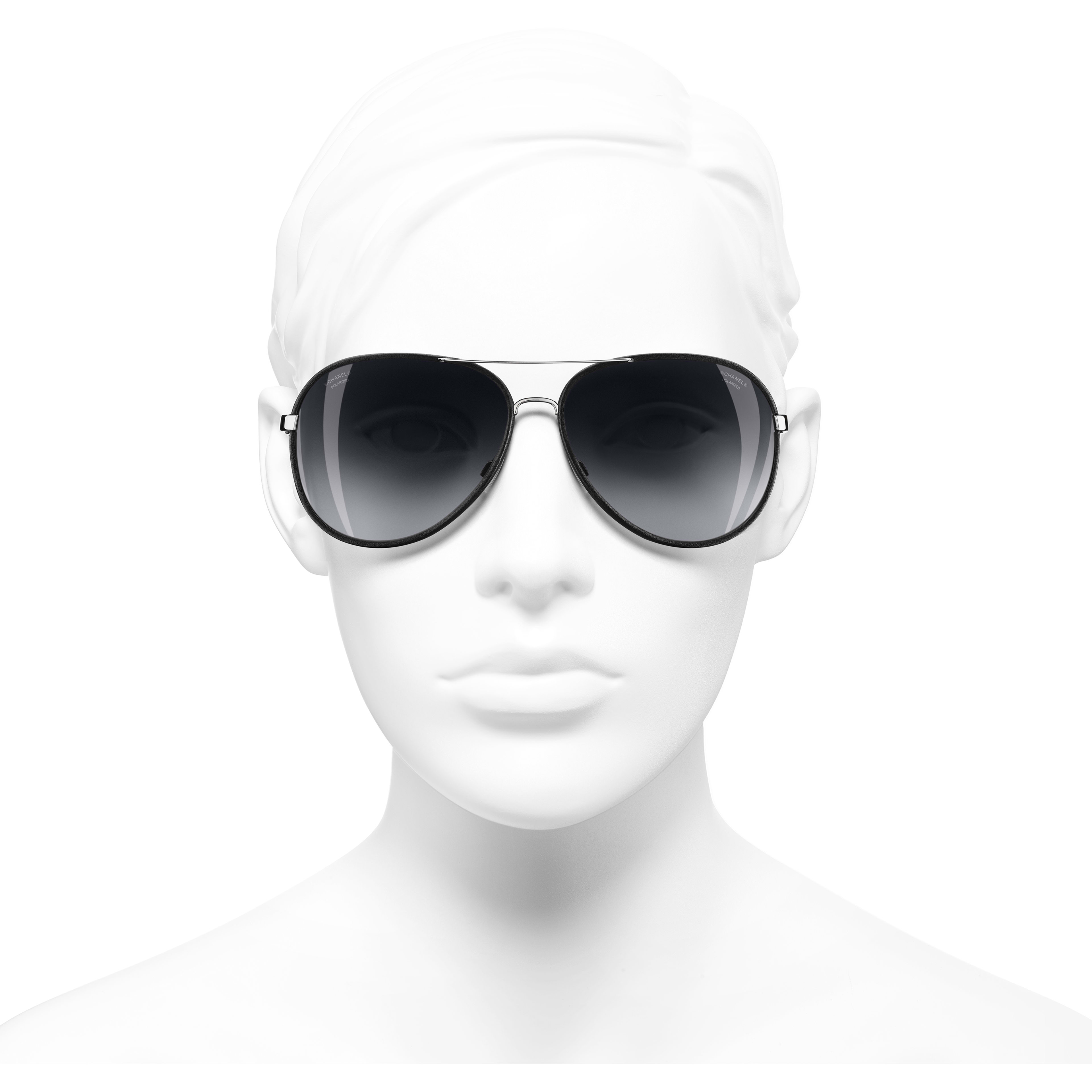 Pilot Sunglasses - Black - Metal & Calfskin - Polarised Lenses - CHANEL - Worn front view - see standard sized version