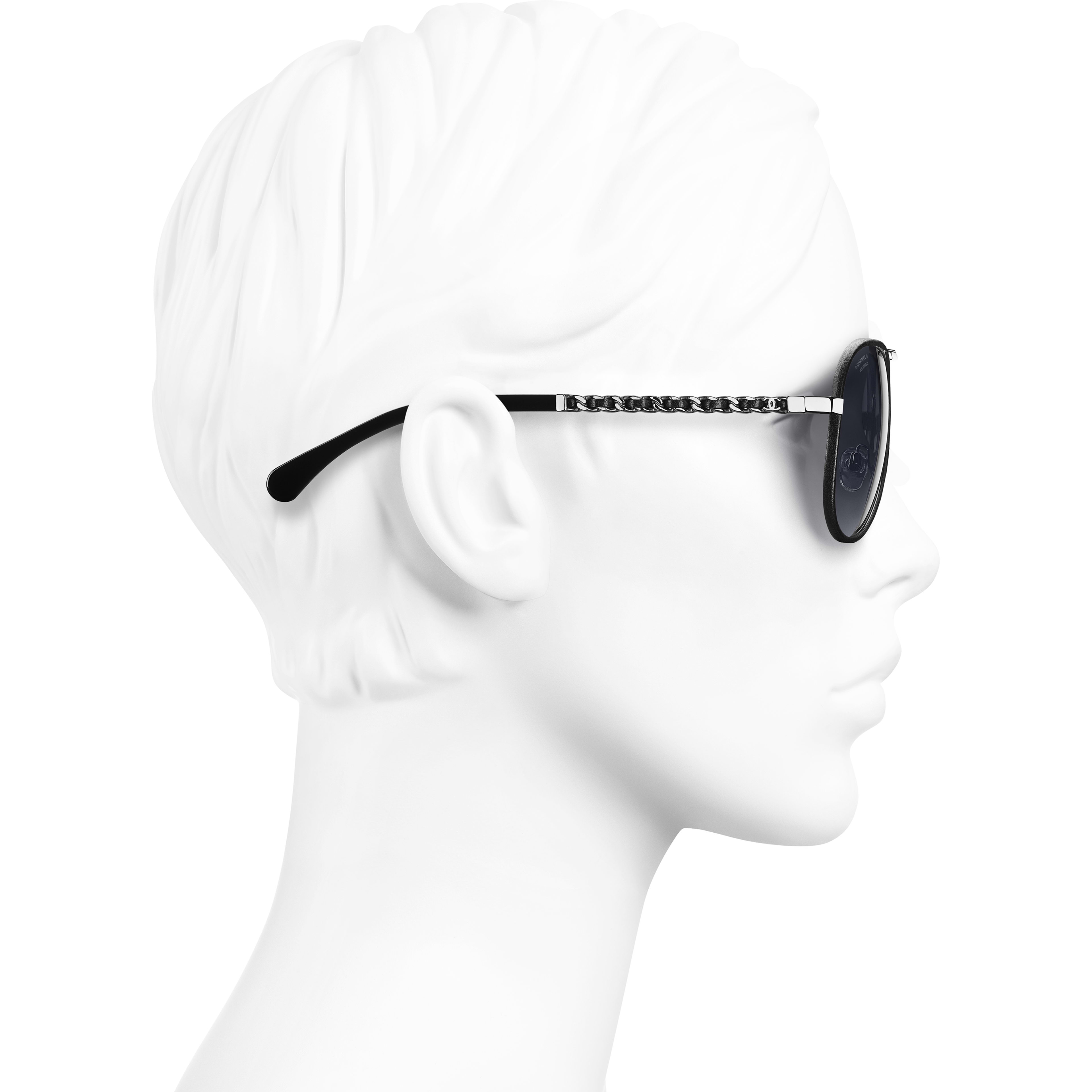 Pilot Sunglasses - Black - Metal & Calfskin - Polarised Lenses - CHANEL - Worn side view - see standard sized version