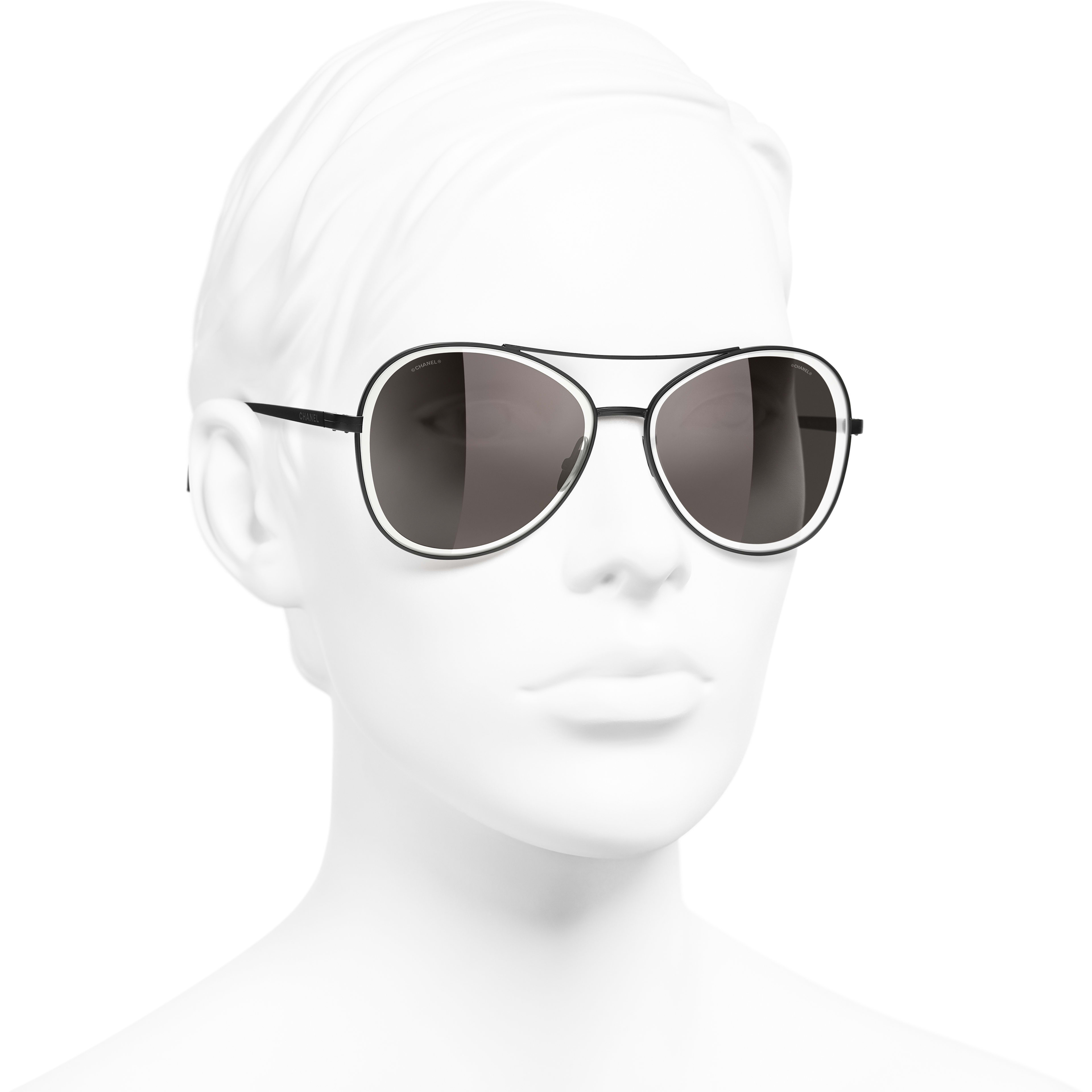 Pilot Sunglasses - Black - Metal - CHANEL - Worn 3/4 view - see standard sized version