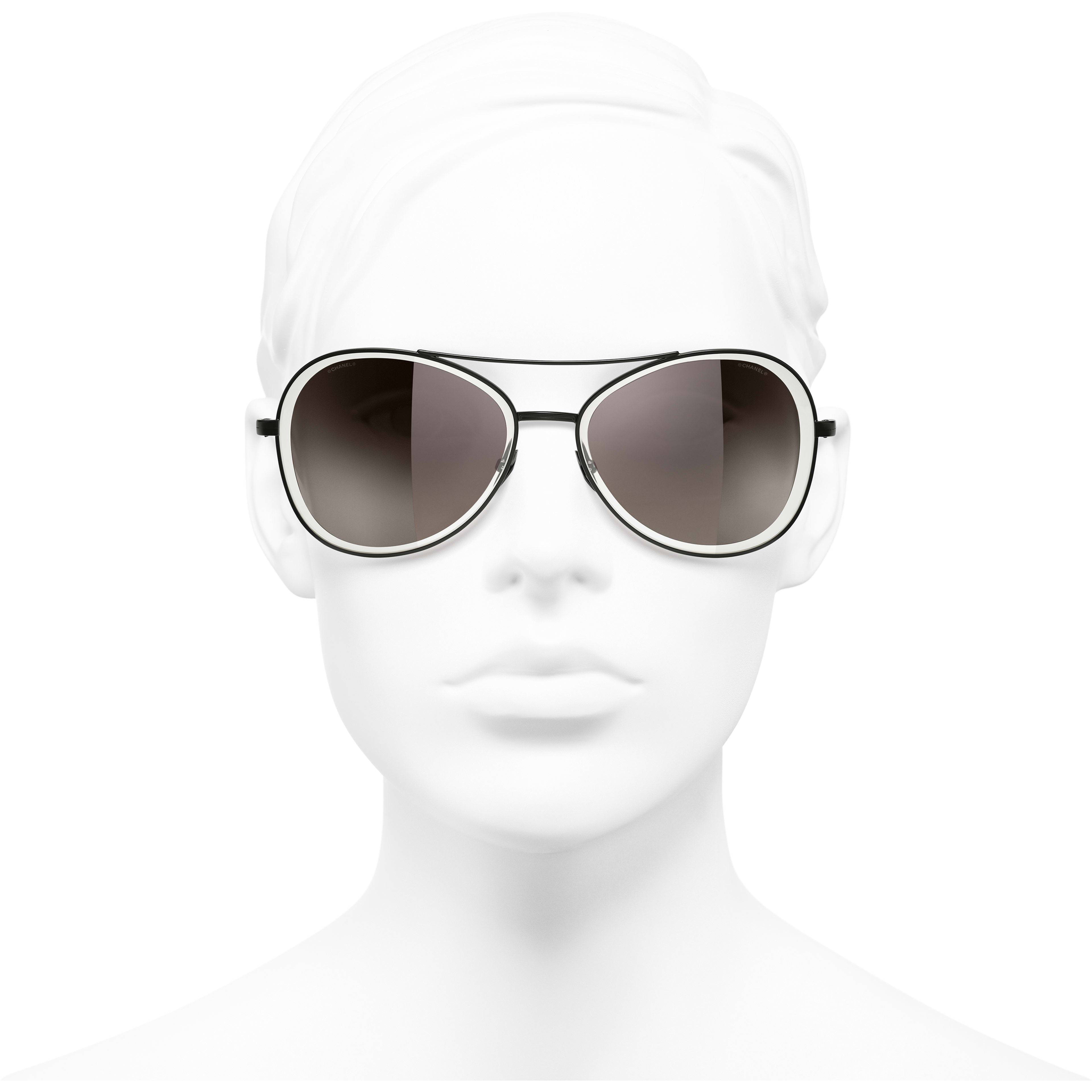 Pilot Sunglasses - Black - Metal - CHANEL - Worn front view - see standard sized version