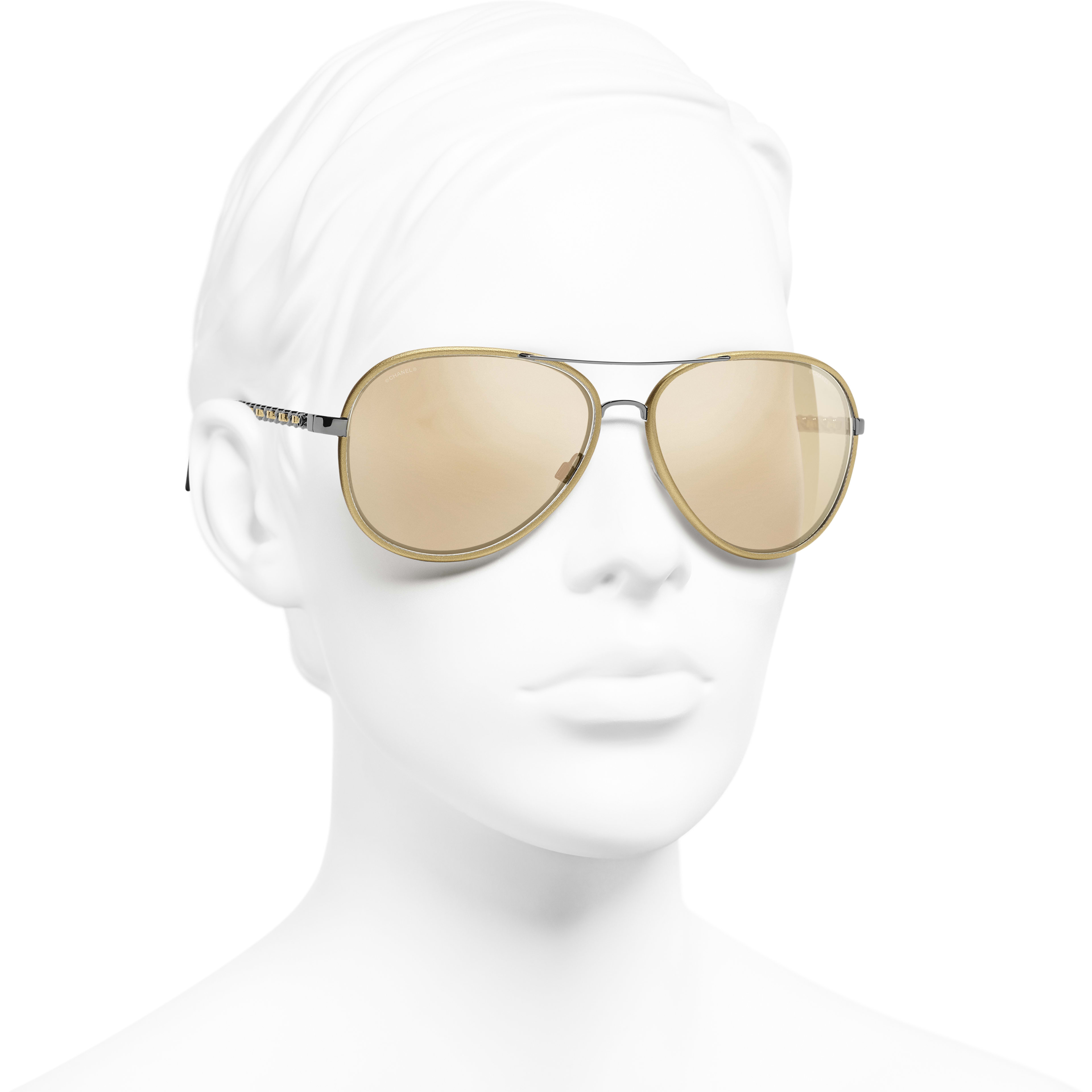 Pilot Sunglasses - Gold - Acetate - Gold Lenses - Worn 3/4 view - see standard sized version