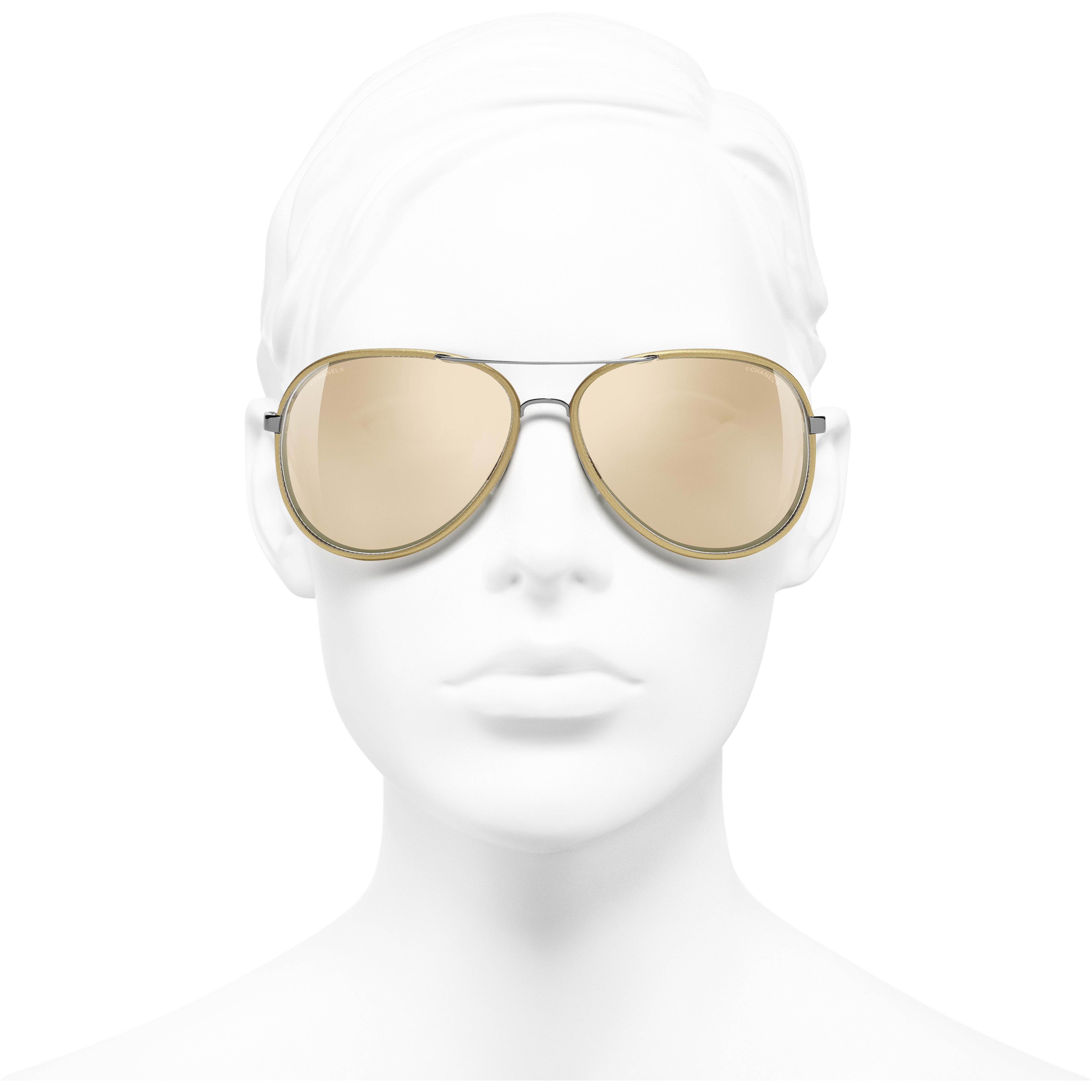 Pilot Sunglasses - Gold - Acetate - Gold Lenses - Worn front view - see standard sized version