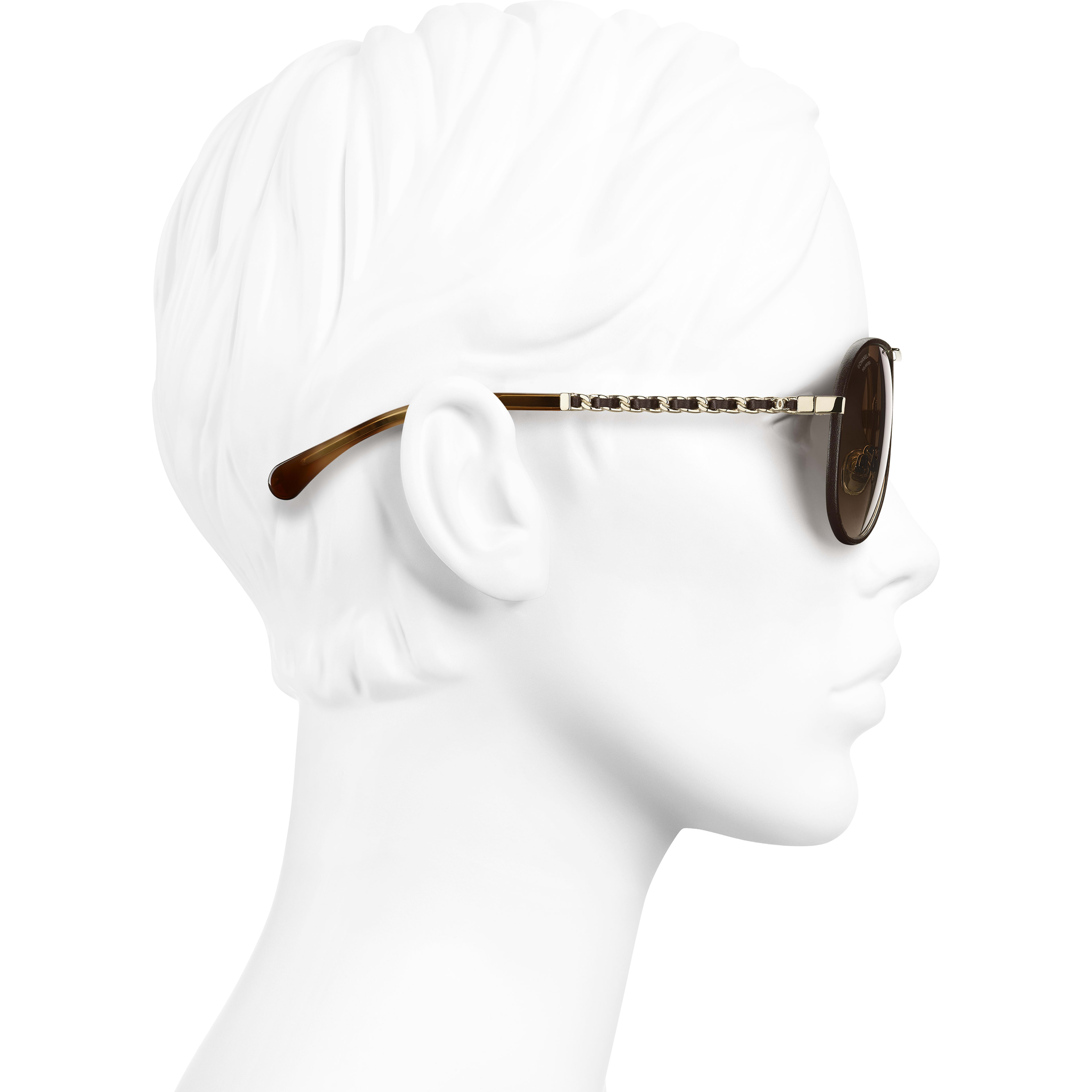 Pilot Sunglasses - Gold & Brown - Metal & Calfskin - CHANEL - Worn side view - see standard sized version