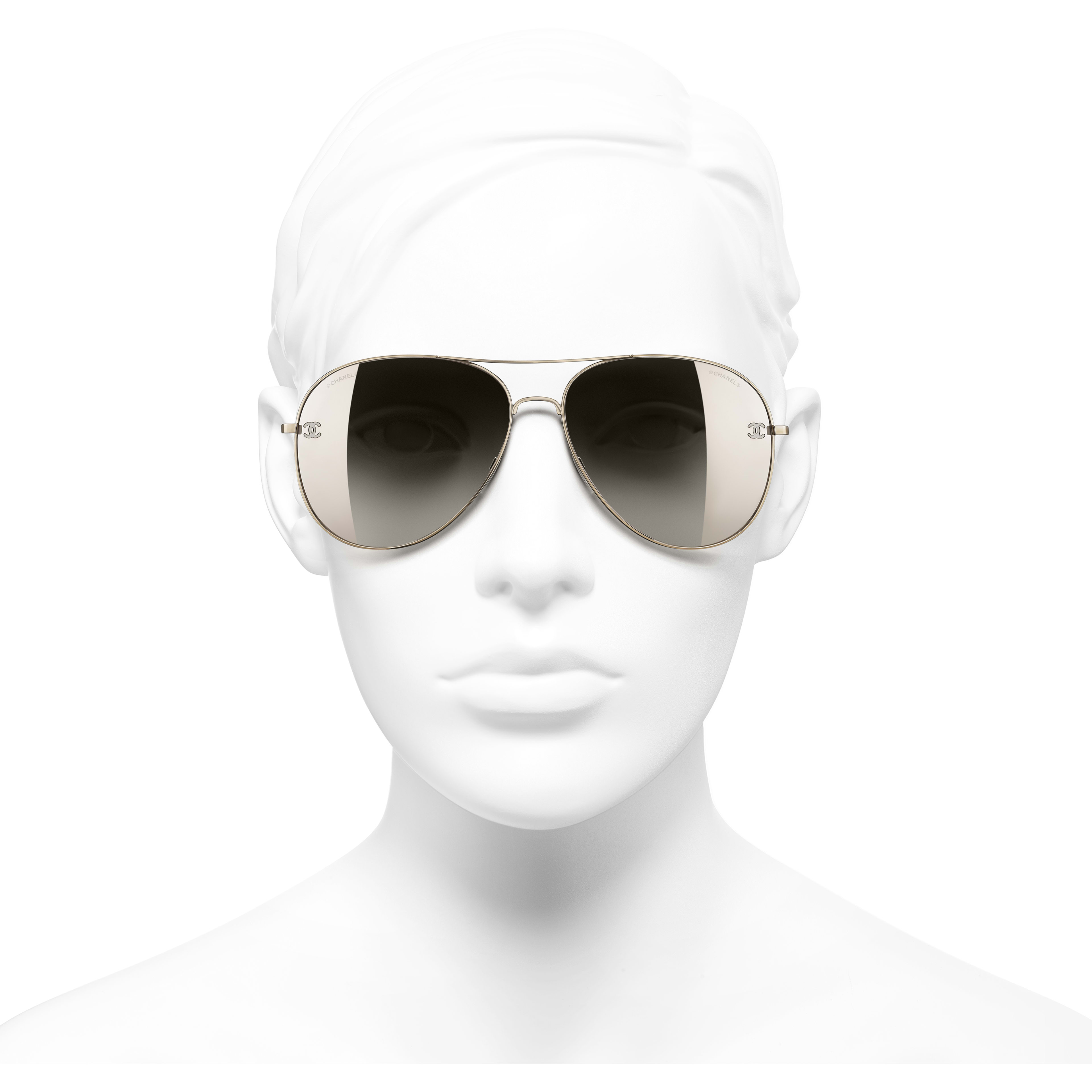 Pilot Sunglasses - Gold & Brown - Titanium & Calfskin - CHANEL - Worn front view - see standard sized version