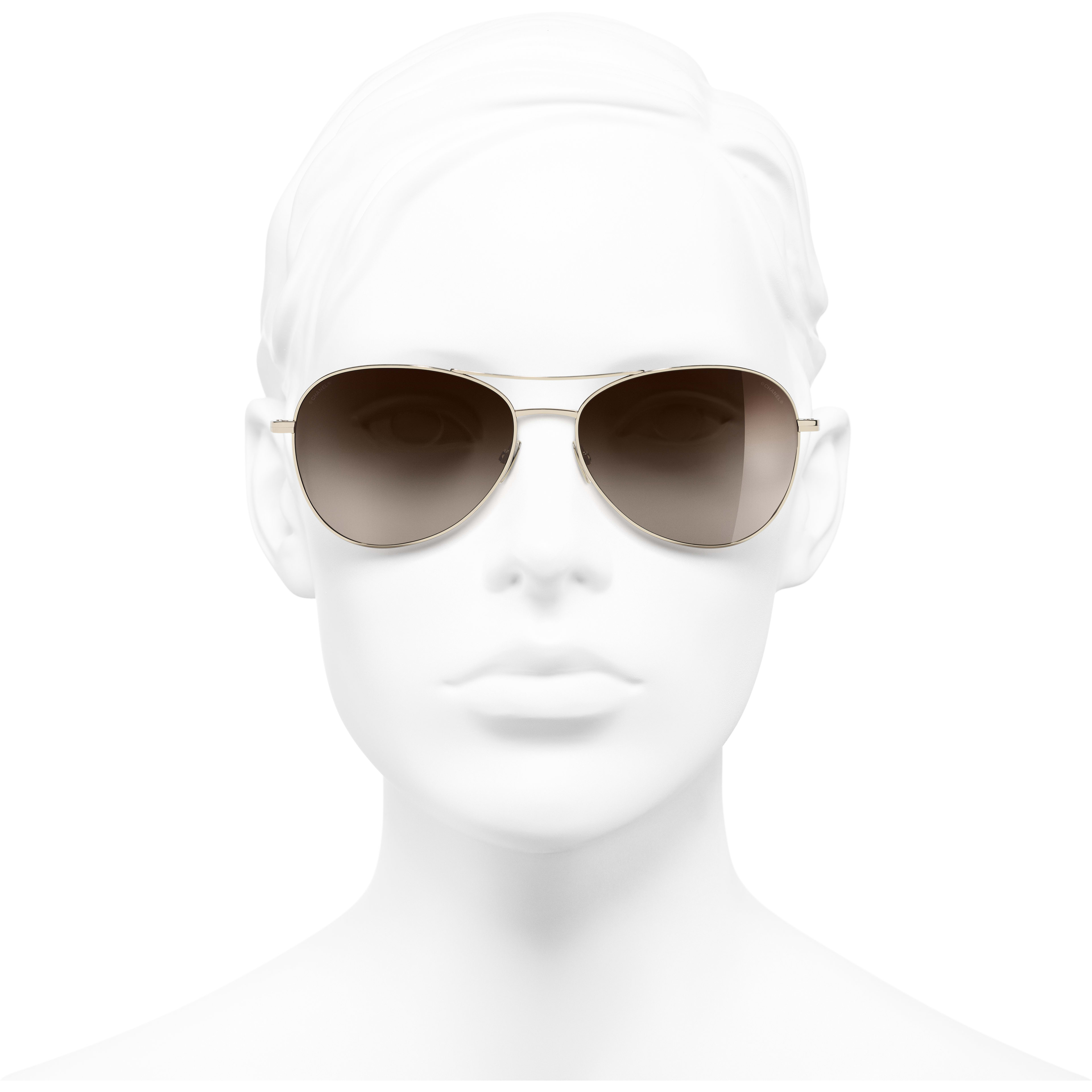 Pilot Sunglasses - Gold - Titanium - CHANEL - Worn front view - see standard sized version