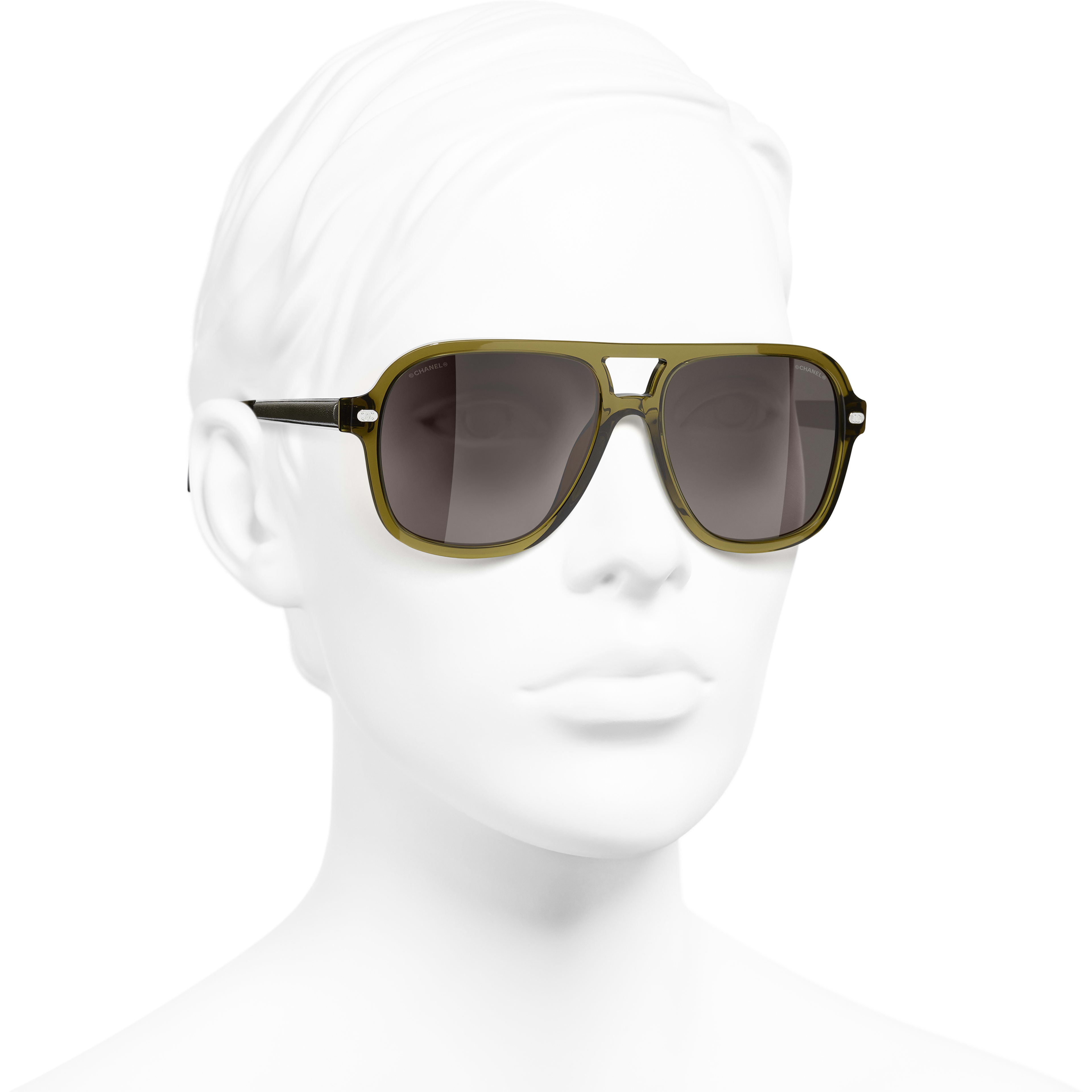 Pilot Sunglasses - Khaki - Acetate & Calfskin - CHANEL - Worn 3/4 view - see standard sized version