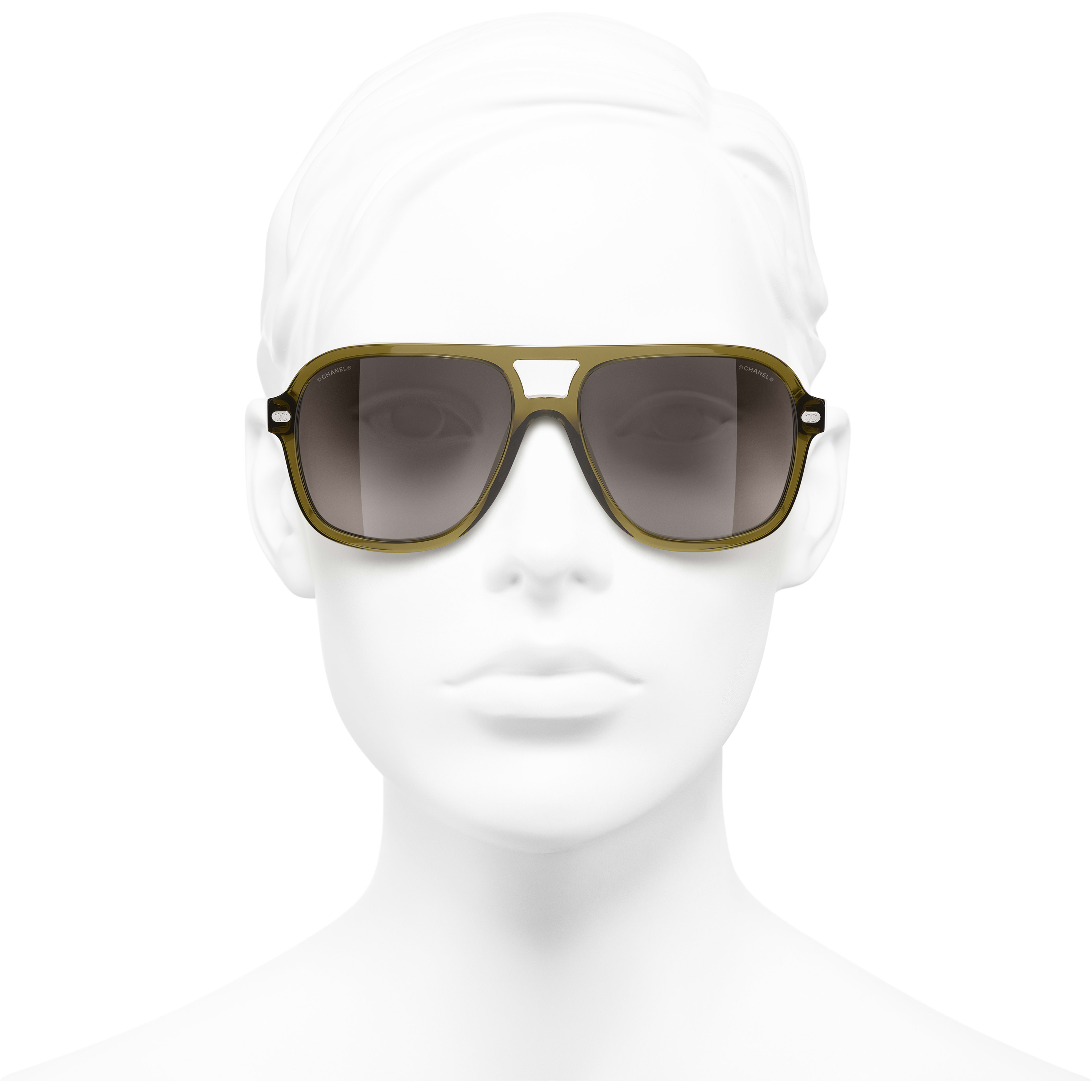 Pilot Sunglasses - Khaki - Acetate & Calfskin - CHANEL - Worn front view - see standard sized version