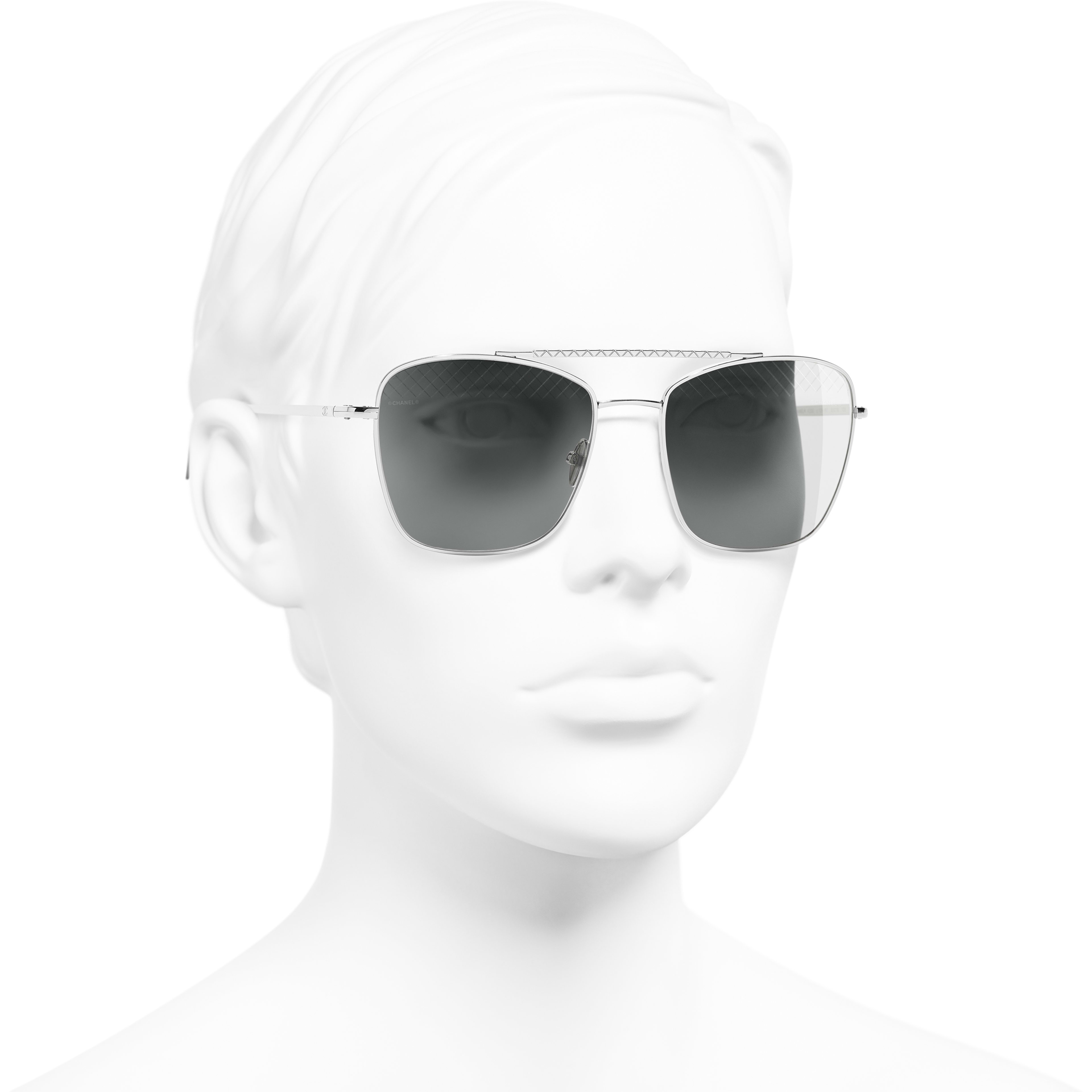 Pilot Sunglasses - Silver - Metal - Worn 3/4 view - see standard sized version