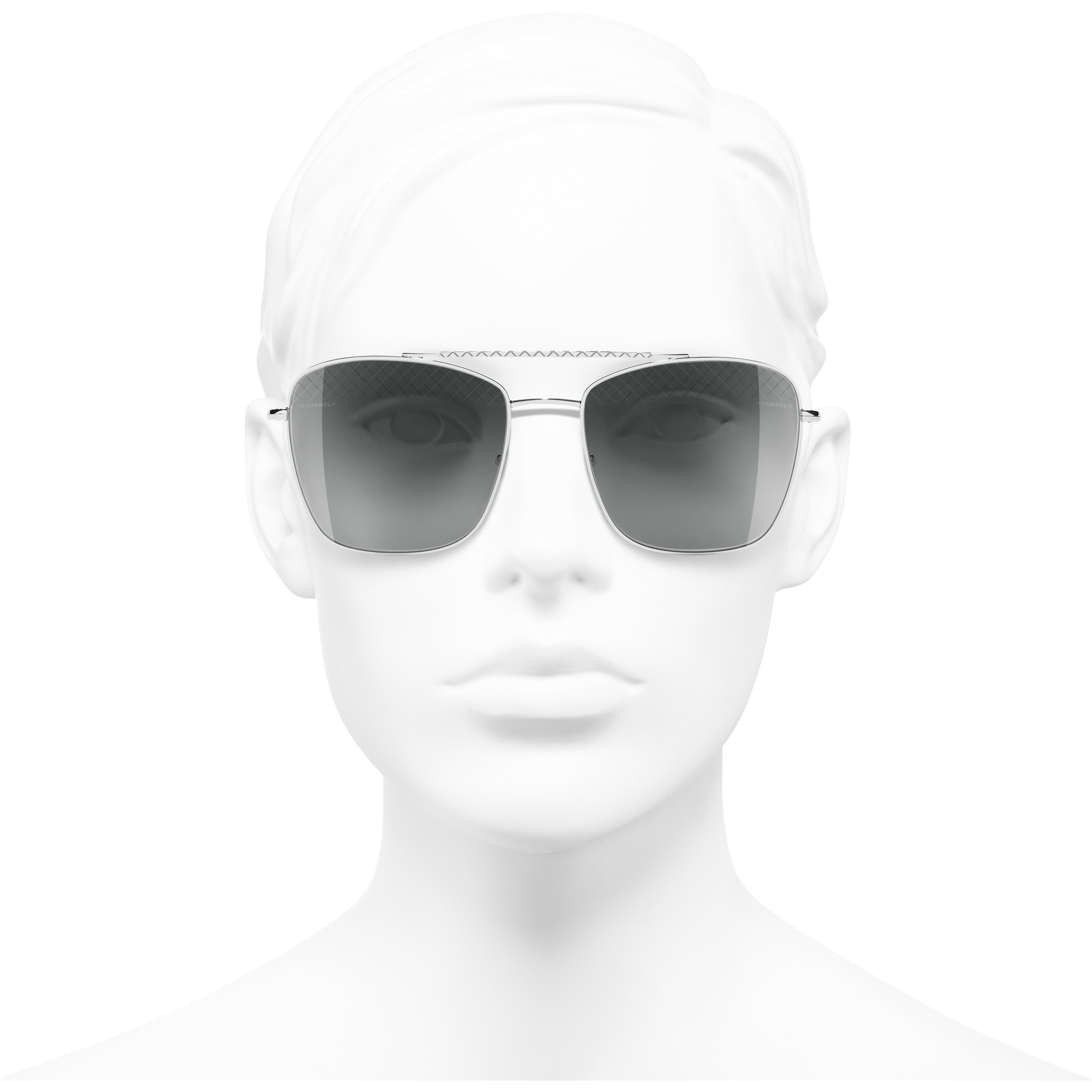 Pilot Sunglasses - Silver - Metal - Worn front view - see standard sized version