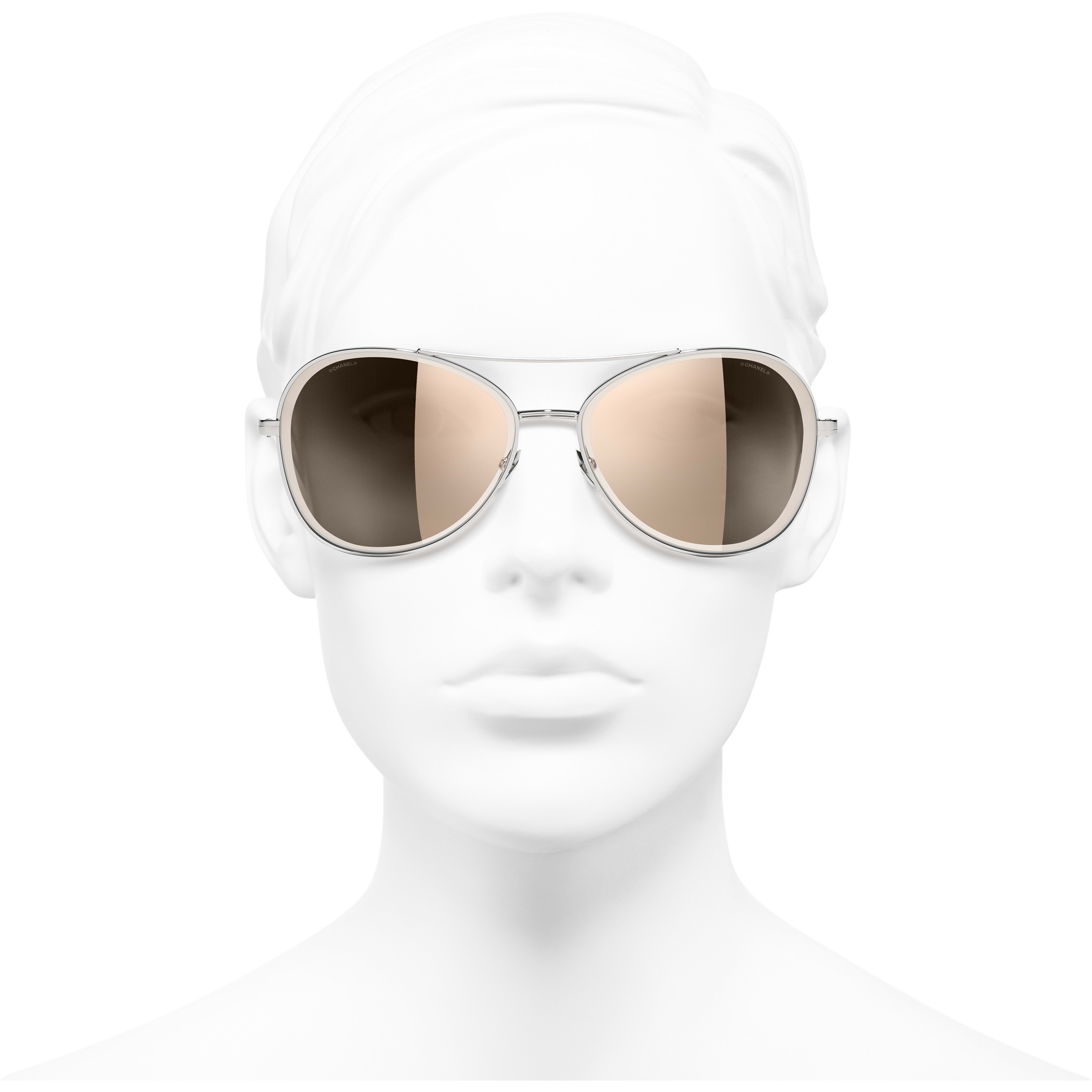 Pilot Sunglasses - Silver - Metal - CHANEL - Worn front view - see standard sized version
