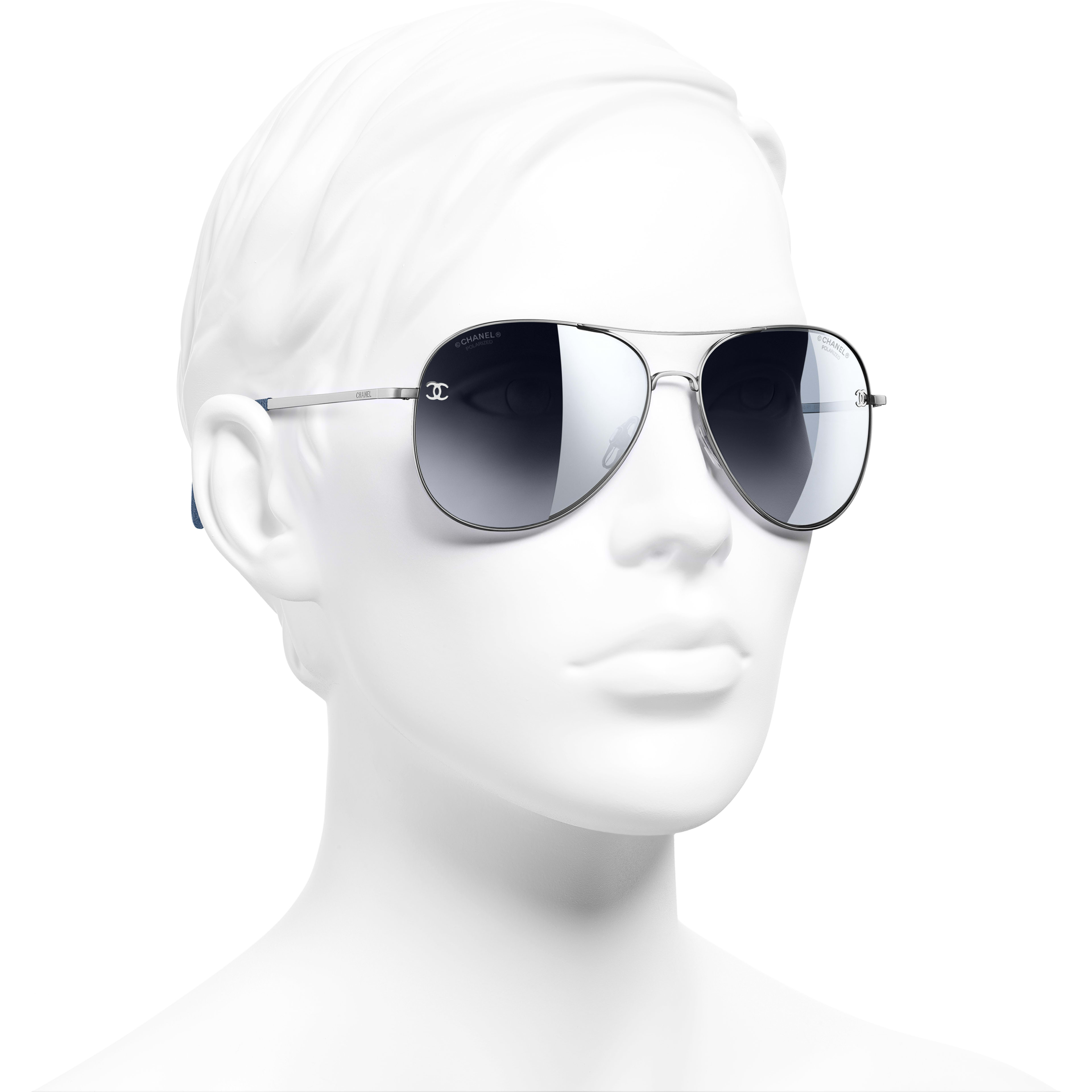 Pilot Sunglasses - Silver - Titanium & Calfskin - CHANEL - Worn 3/4 view - see standard sized version