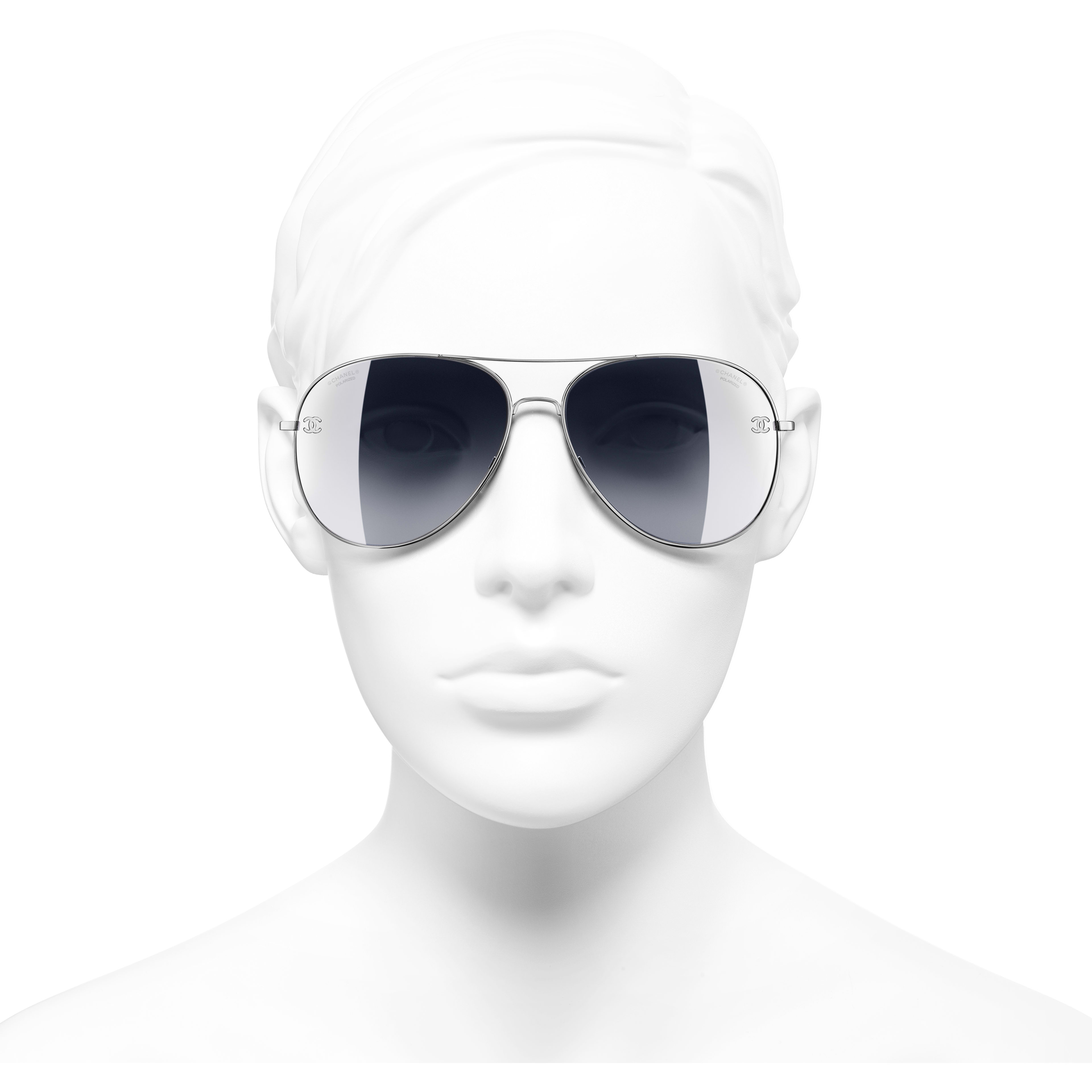 Pilot Sunglasses - Silver - Titanium & Calfskin - CHANEL - Worn front view - see standard sized version