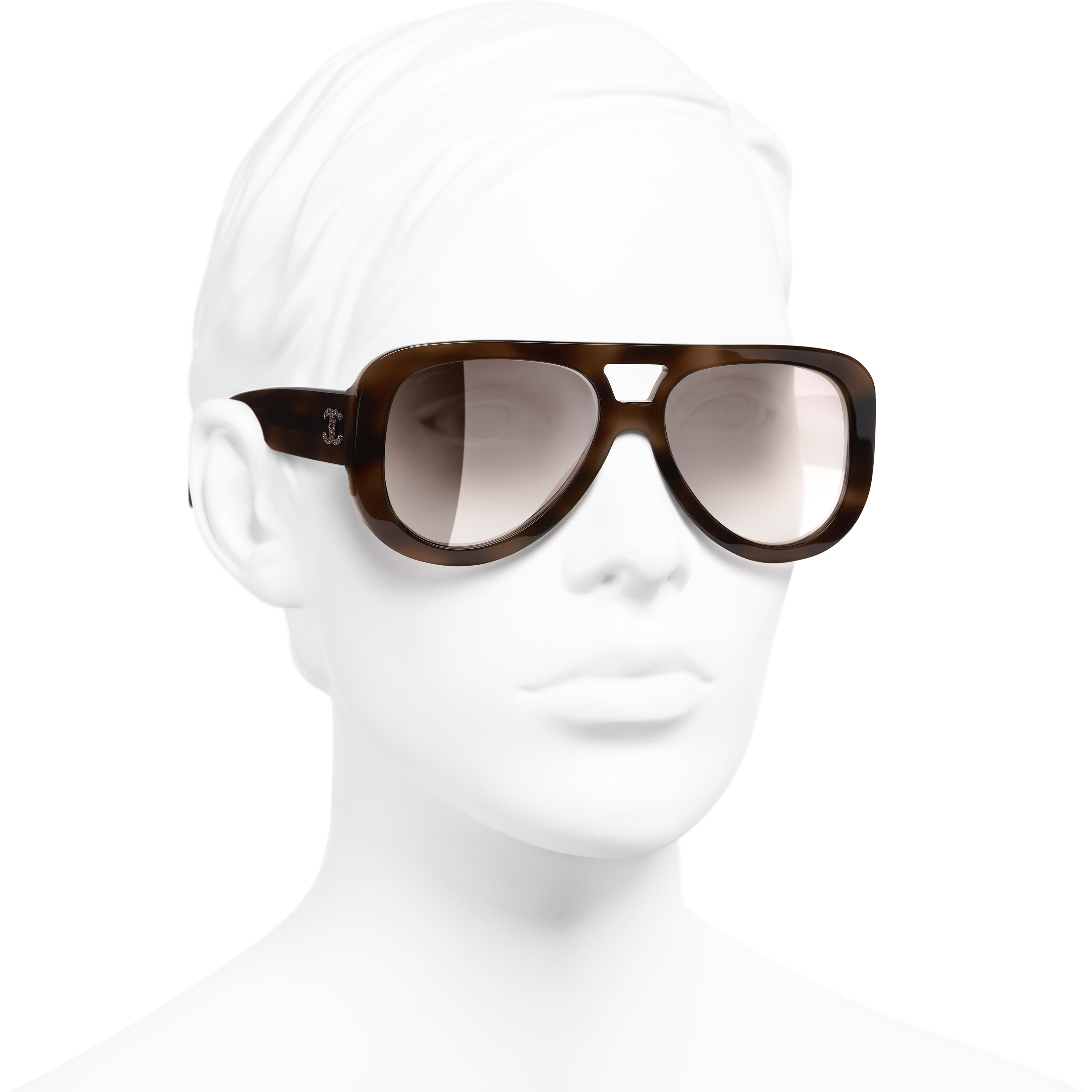 Pilot Sunglasses - Tortoise - Acetate & Diamanté - CHANEL - Worn 3/4 view - see standard sized version
