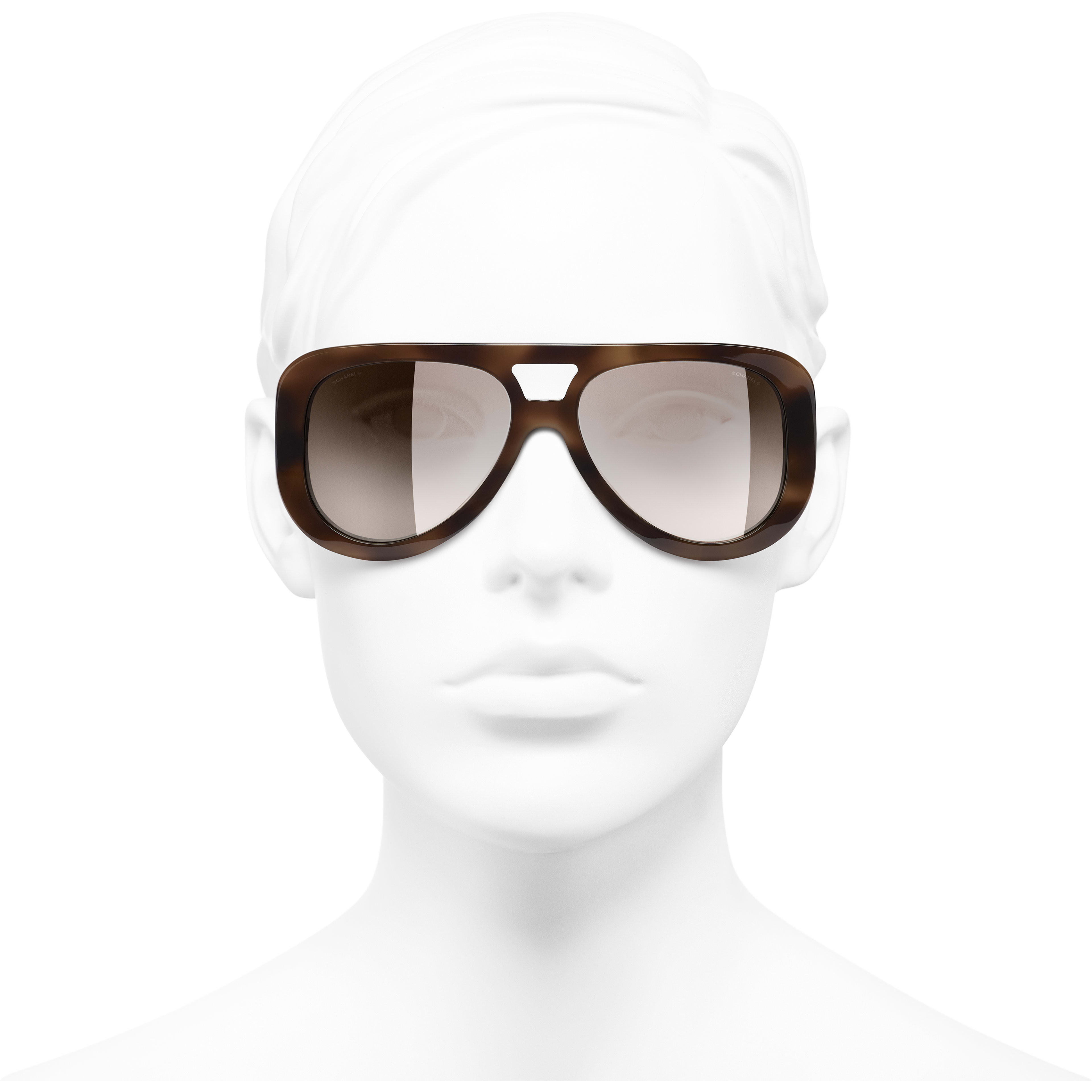 Pilot Sunglasses - Tortoise - Acetate & Diamanté - CHANEL - Worn front view - see standard sized version