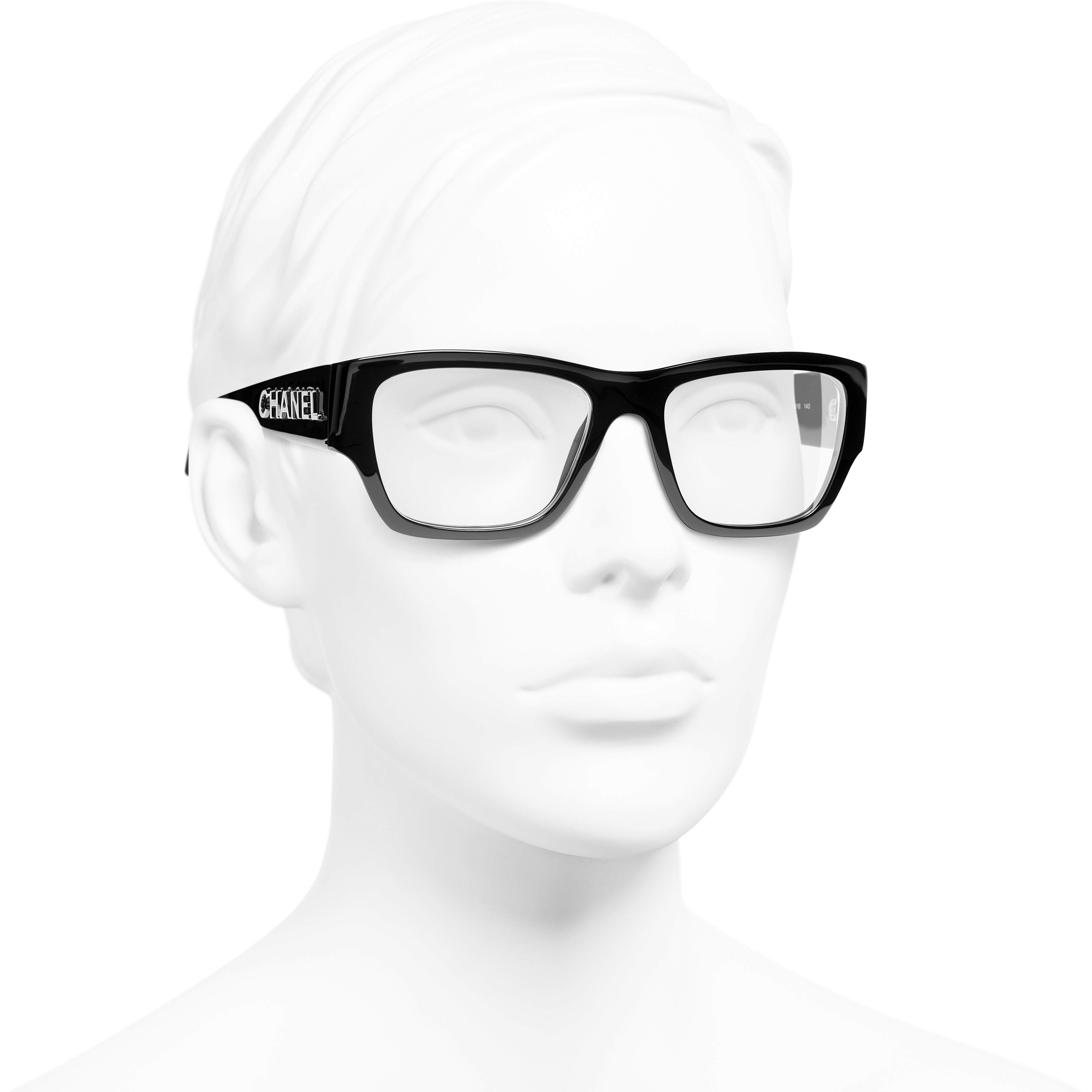 Rectangle Eyeglasses - Black - Acetate - CHANEL - Worn 3/4 view - see standard sized version