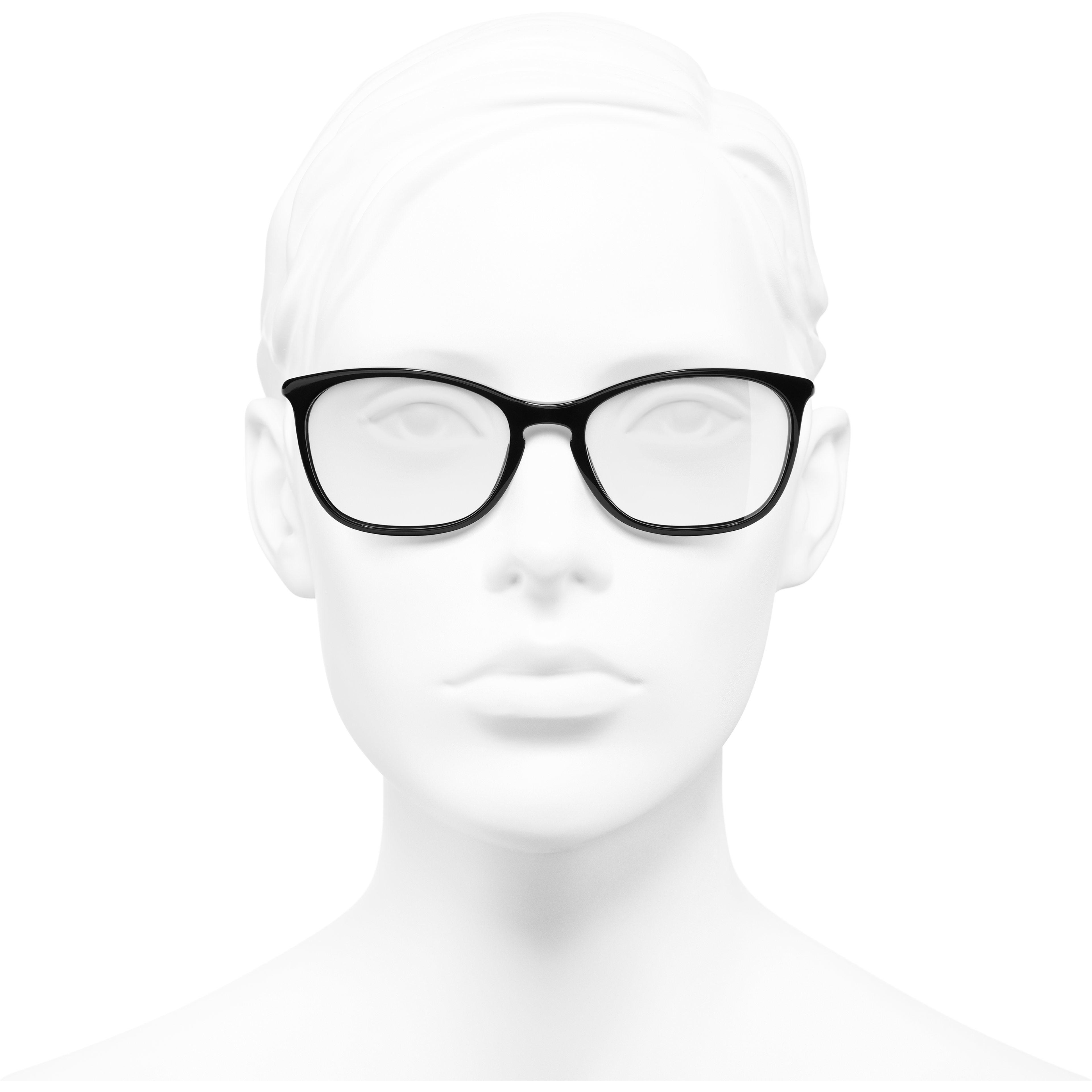 Lunettes rectangles - Noir - Acétate - CHANEL - Vue de face portée - voir la version taille standard