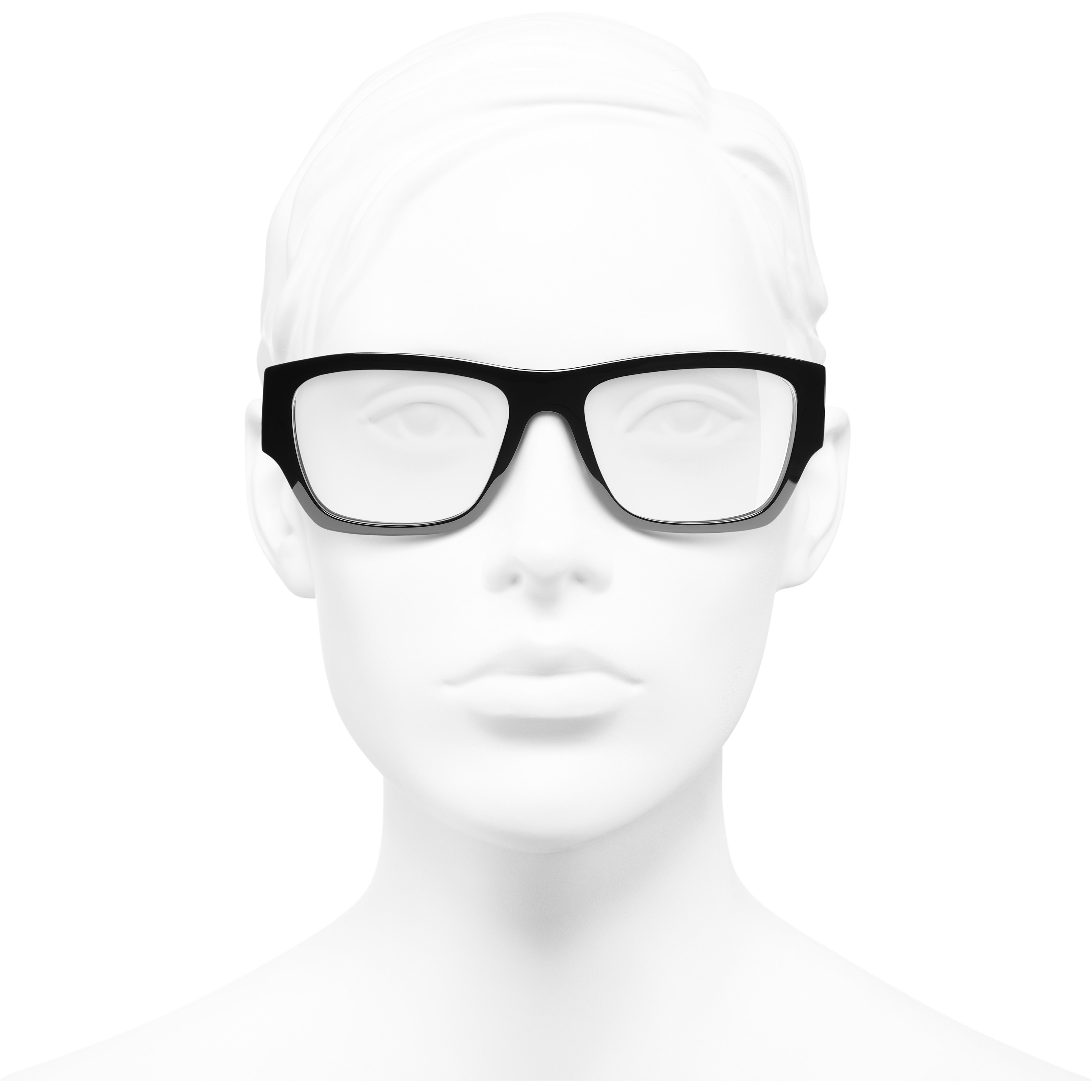 Rectangle Eyeglasses - Black - Acetate - CHANEL - Worn front view - see standard sized version