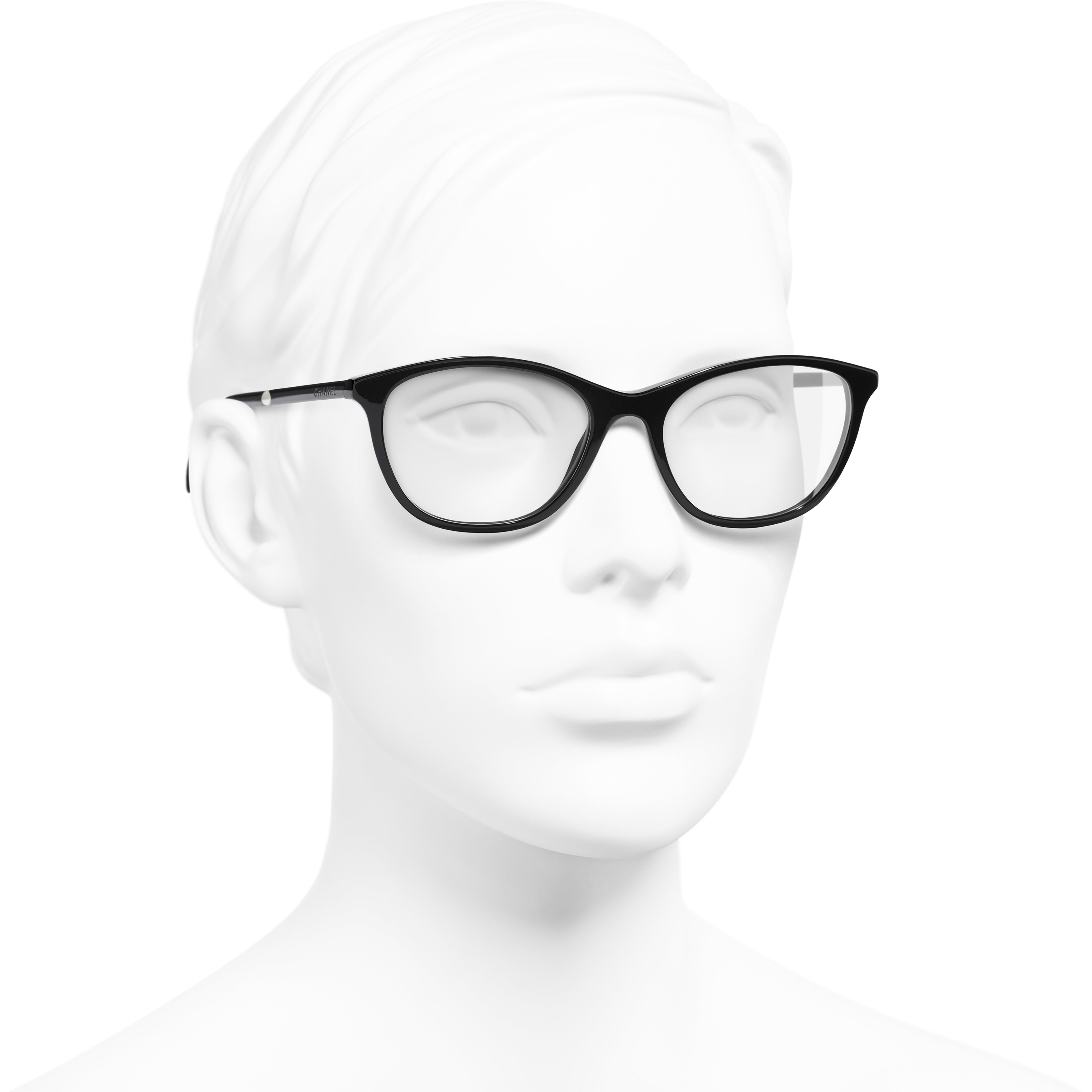 Rectangle Eyeglasses - Black - Acetate & Imitation Pearls - CHANEL - Worn 3/4 view - see standard sized version