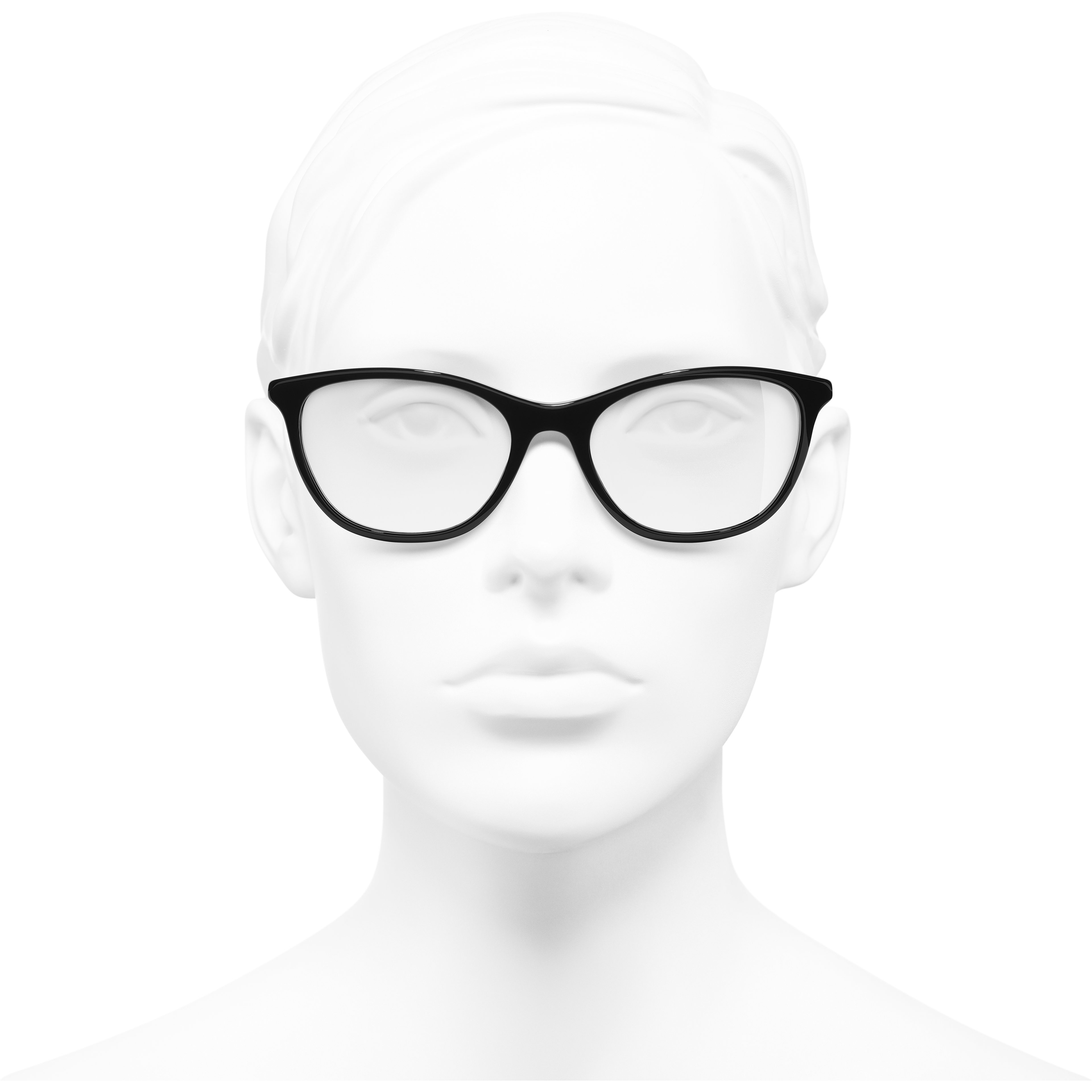 Rectangle Eyeglasses - Black - Acetate & Imitation Pearls - CHANEL - Worn front view - see standard sized version