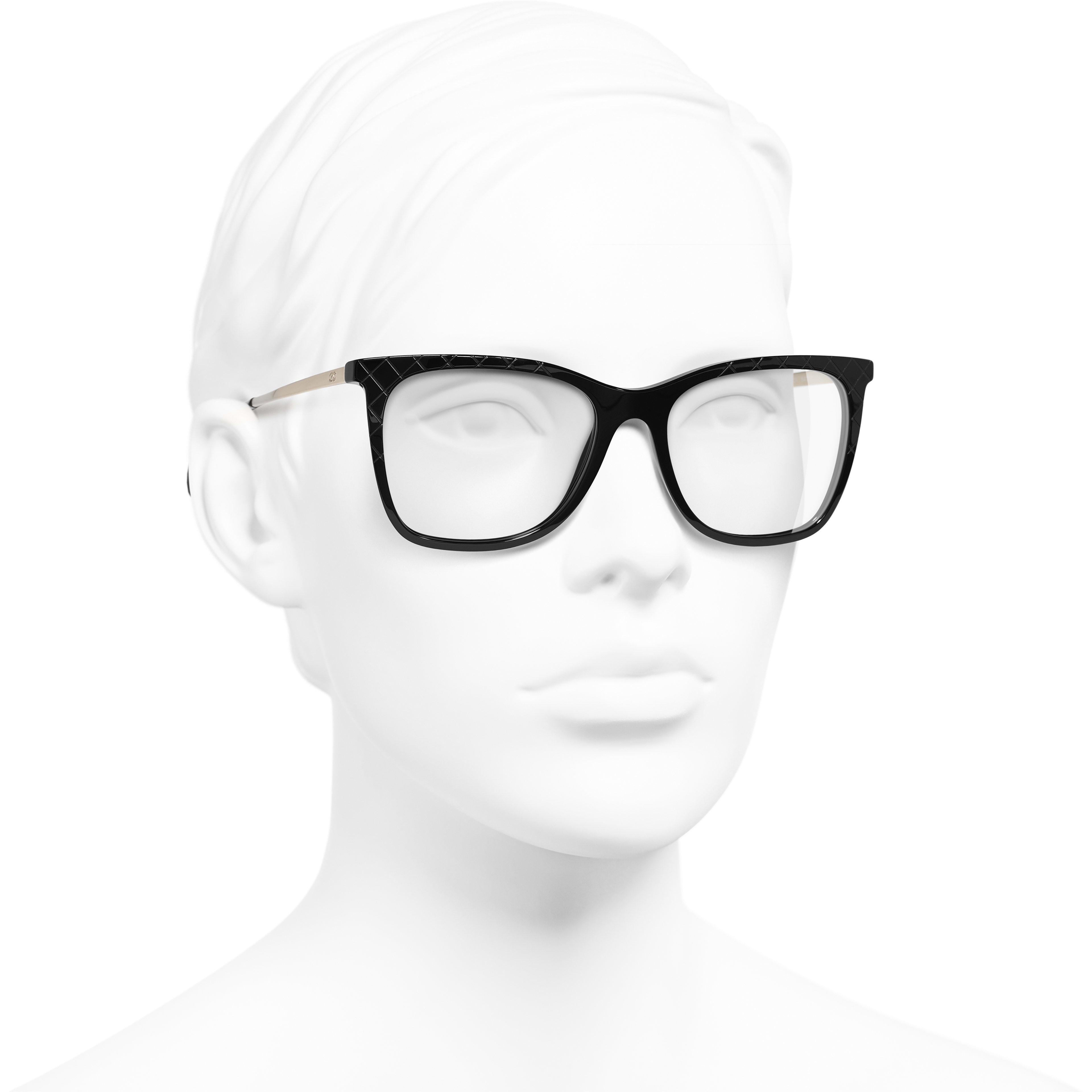 Rectangle Eyeglasses - Black - Acetate & Metal - Worn 3/4 view - see standard sized version