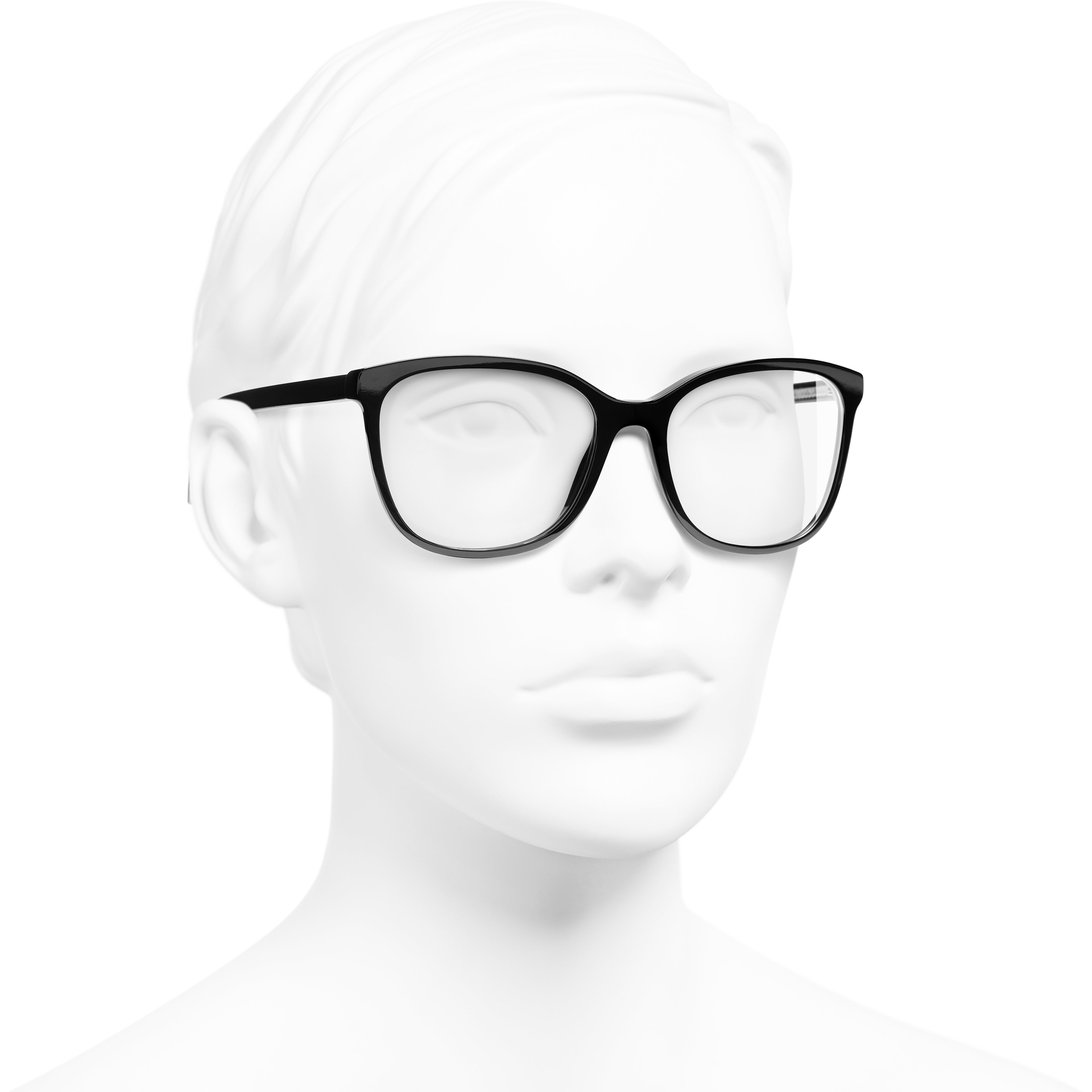 Rectangle Eyeglasses - Black - Acetate & Metal - CHANEL - Worn 3/4 view - see standard sized version