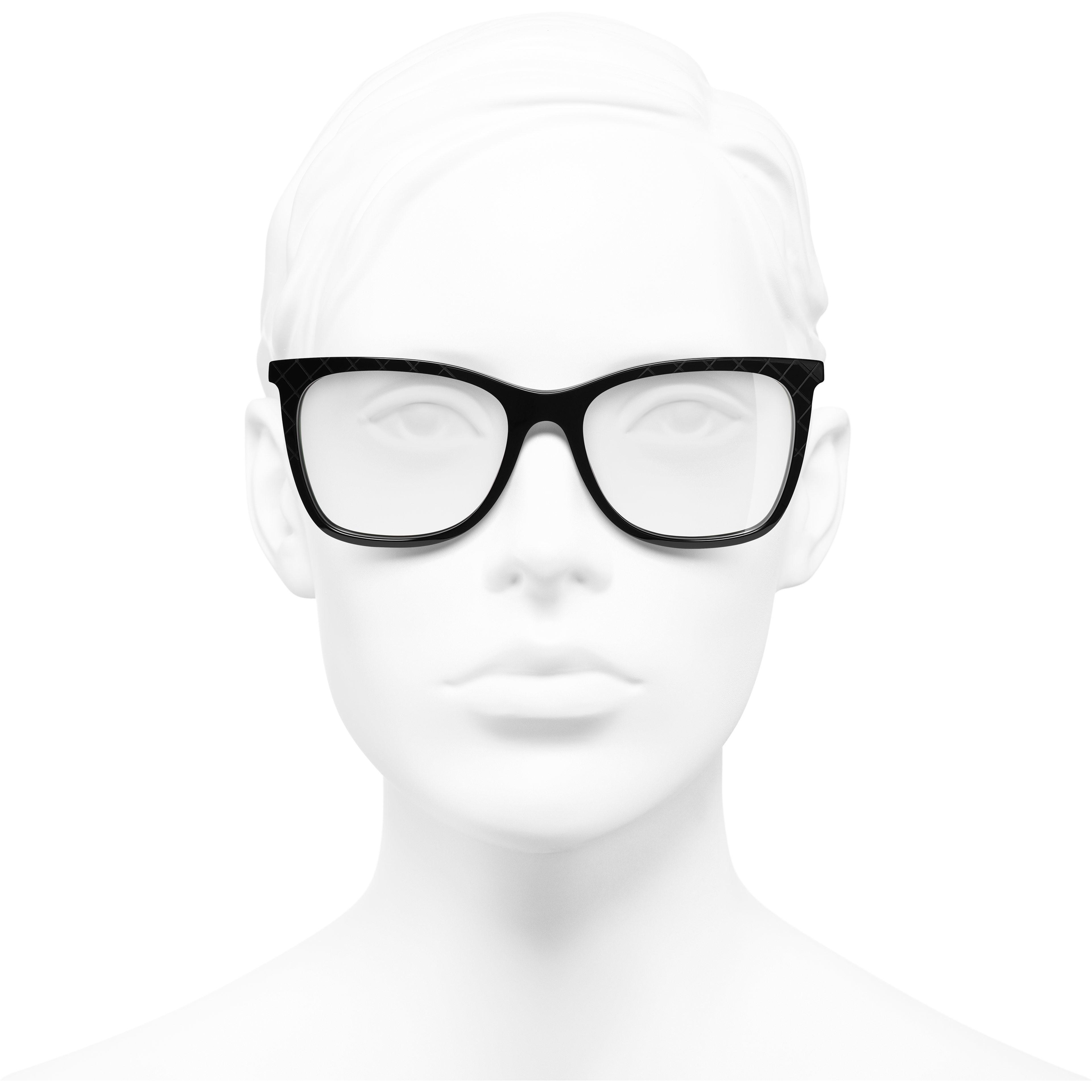 Rectangle Eyeglasses - Black - Acetate & Metal - Worn front view - see standard sized version