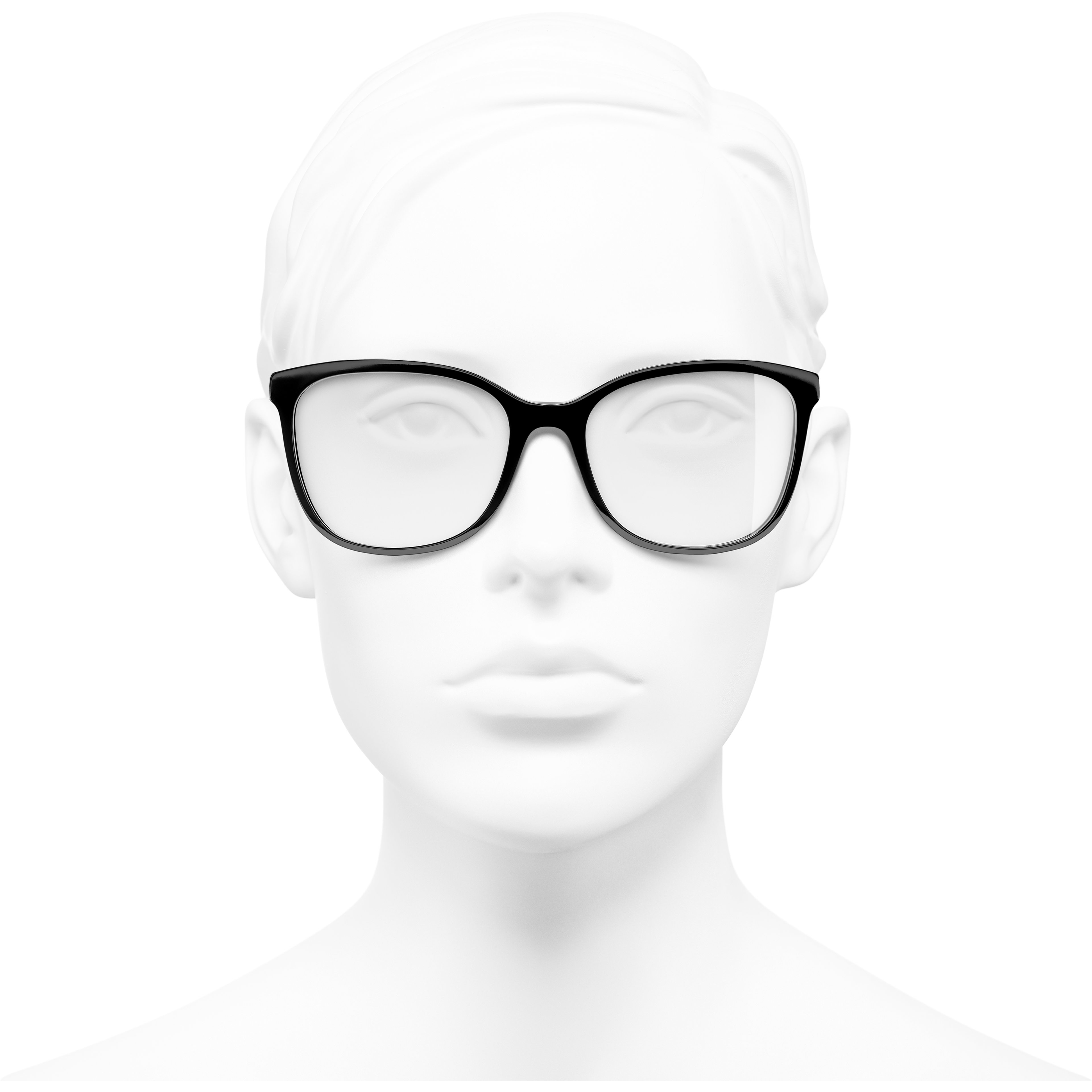 Rectangle Eyeglasses - Black - Acetate & Metal - CHANEL - Worn front view - see standard sized version