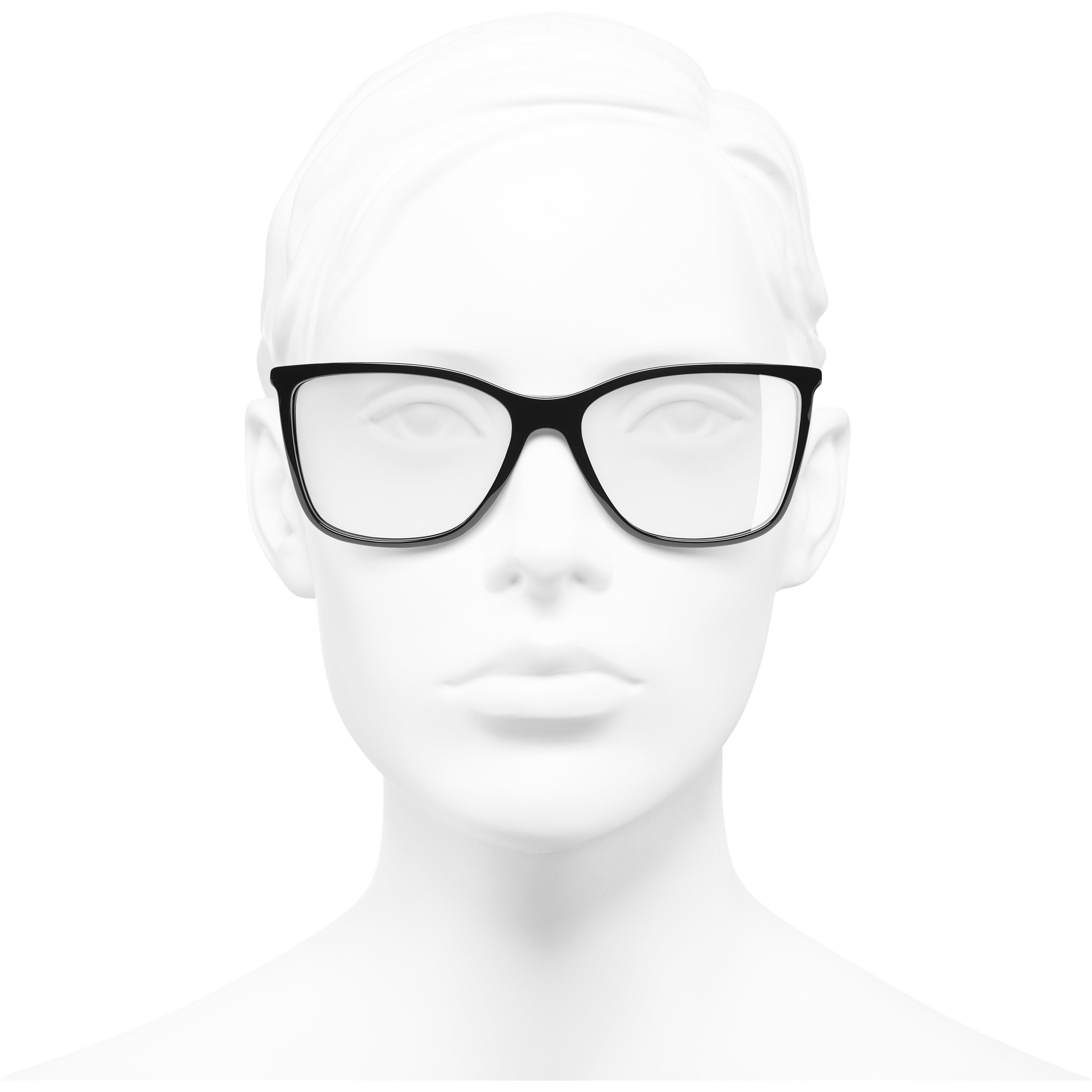 方型眼鏡 - 黑 - 高級樹脂 & 水鑽 - CHANEL - 配戴時的正面視圖 - 查看標準尺寸版本