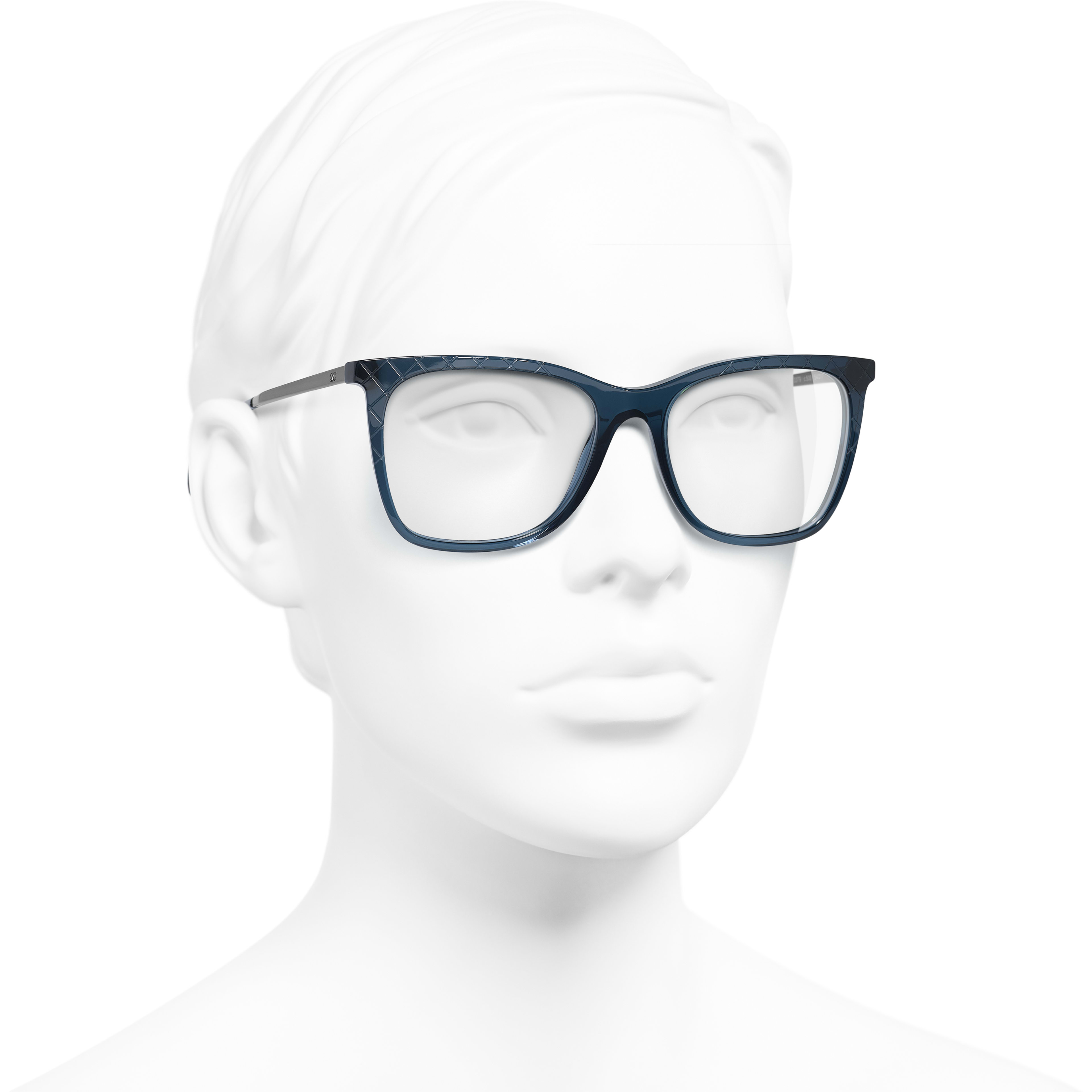 Rectangle Eyeglasses - Blue - Acetate & Metal - Worn 3/4 view - see standard sized version