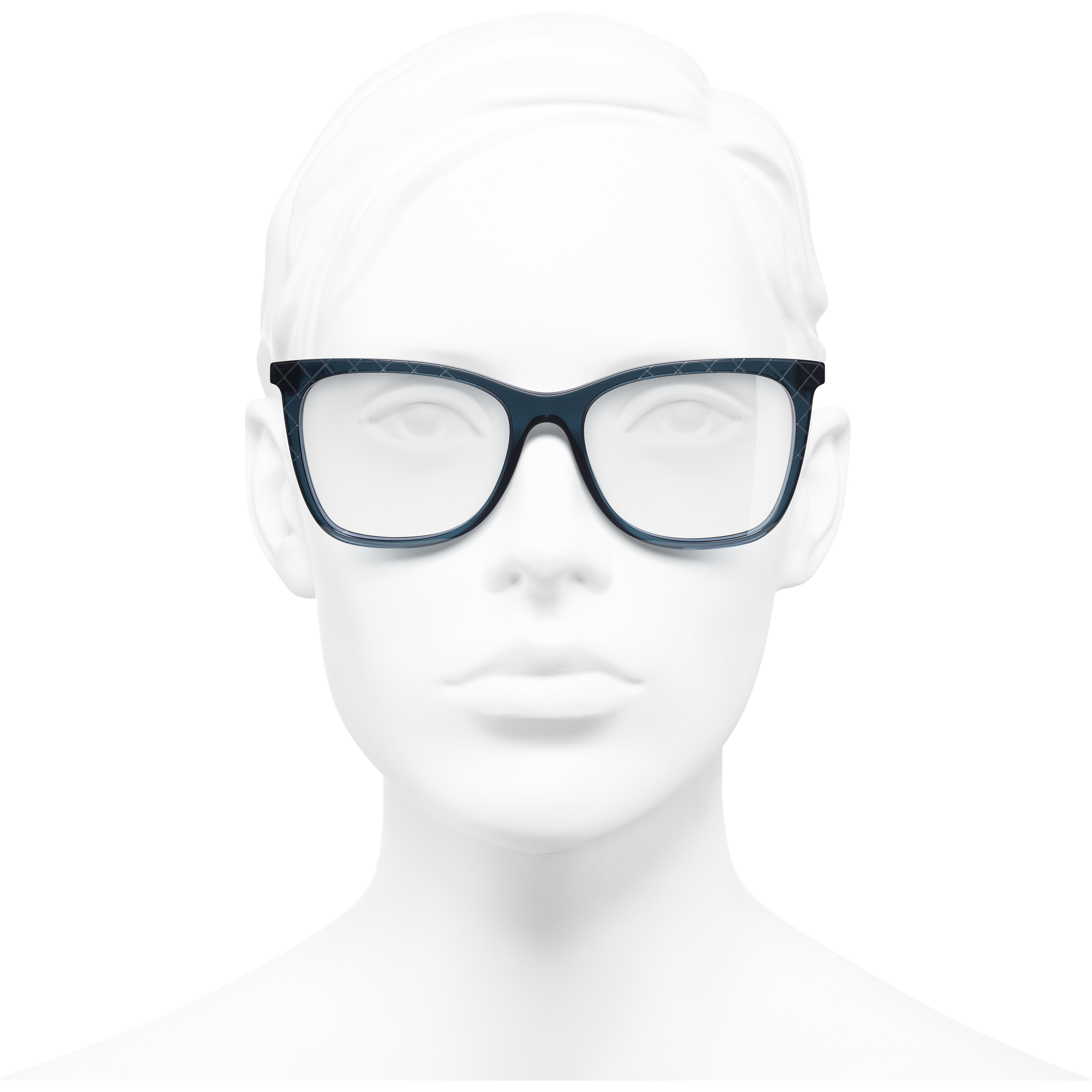 Rectangle Eyeglasses - Blue - Acetate & Metal - Worn front view - see standard sized version