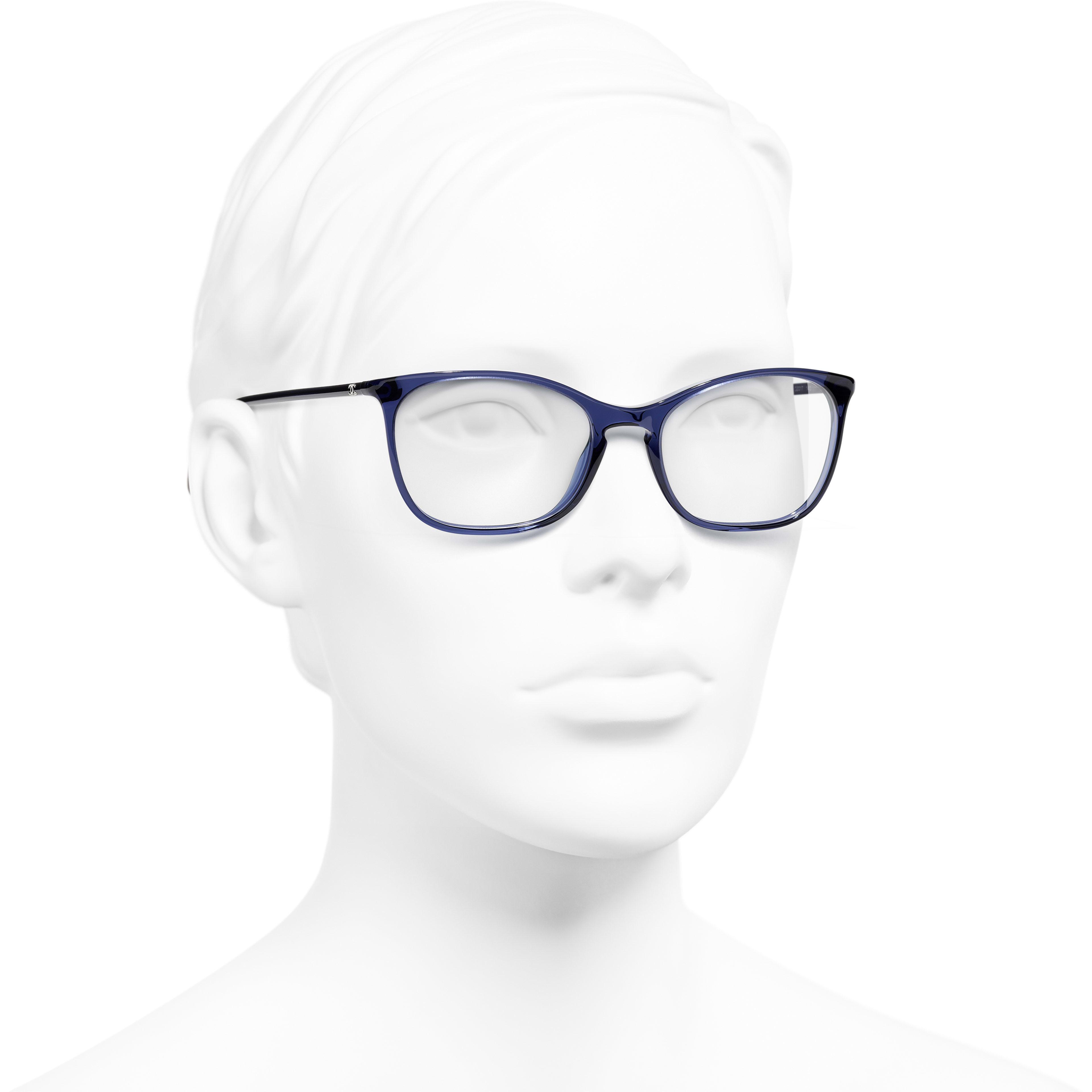 Rectangle Eyeglasses - Dark Blue - Acetate - Worn 3/4 view - see standard sized version