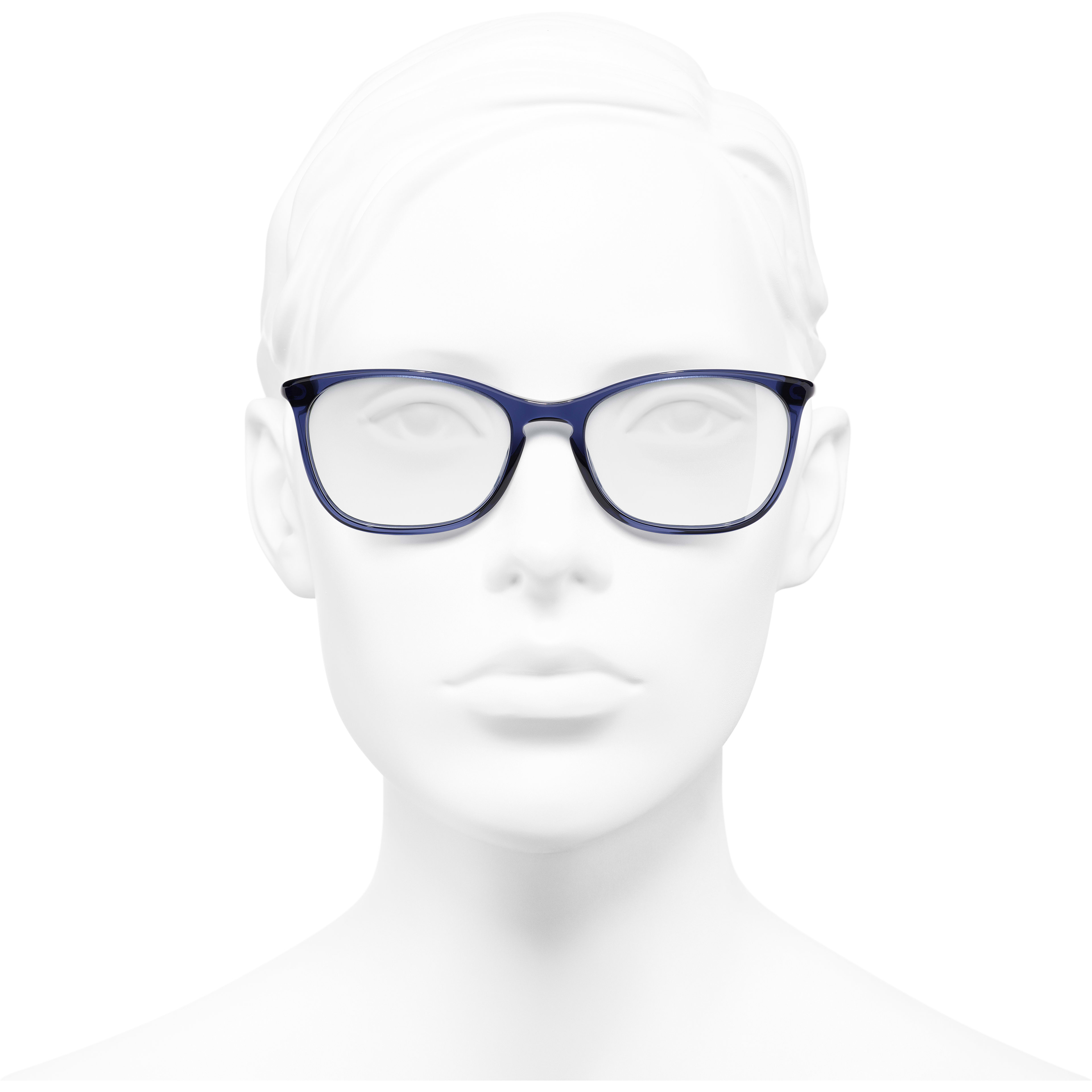 Rectangle Eyeglasses - Dark Blue - Acetate - Worn front view - see standard sized version