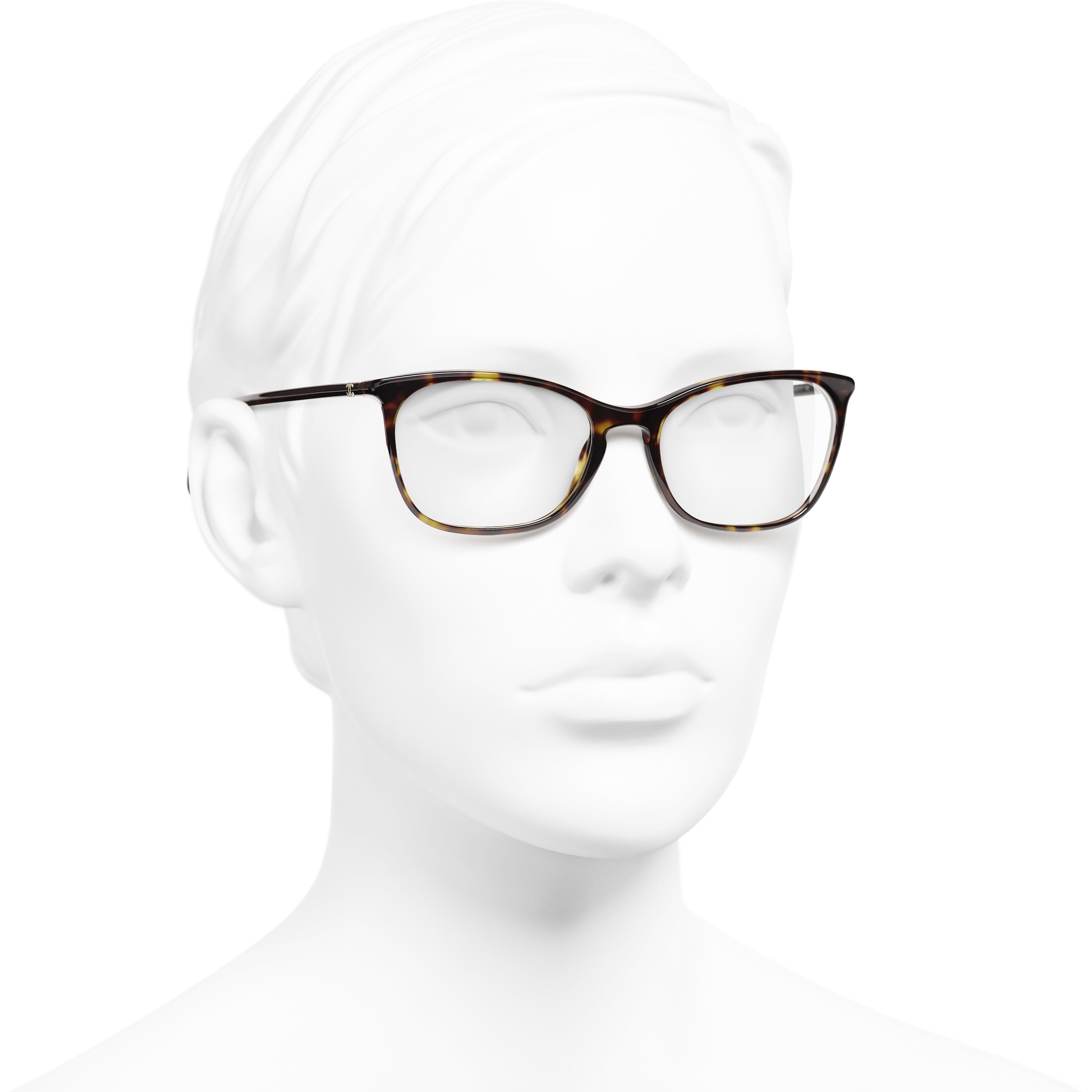 Rectangle Eyeglasses - Dark Tortoise - Acetate - CHANEL - Worn 3/4 view - see standard sized version