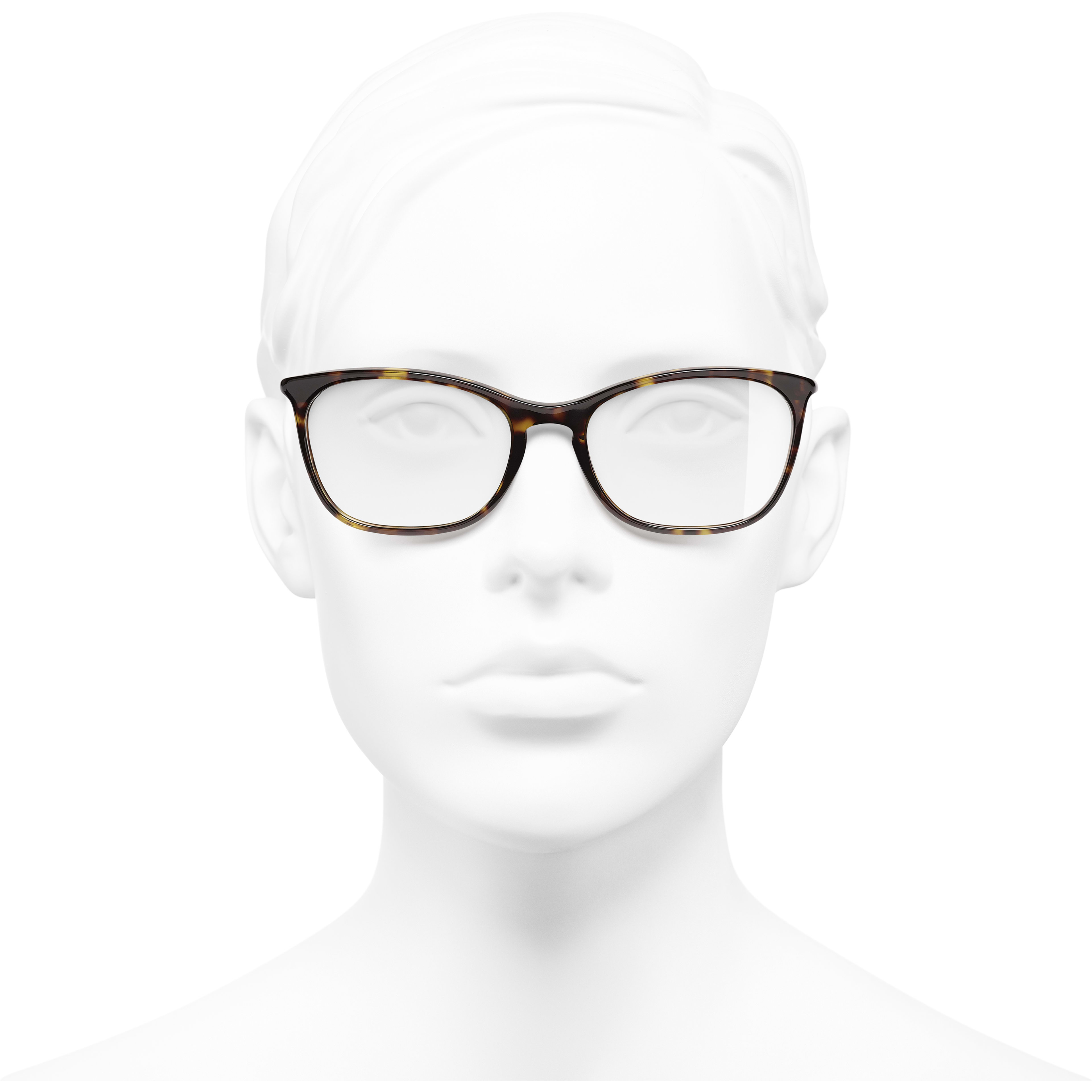 Rectangle Eyeglasses - Dark Tortoise - Acetate - Worn front view - see standard sized version