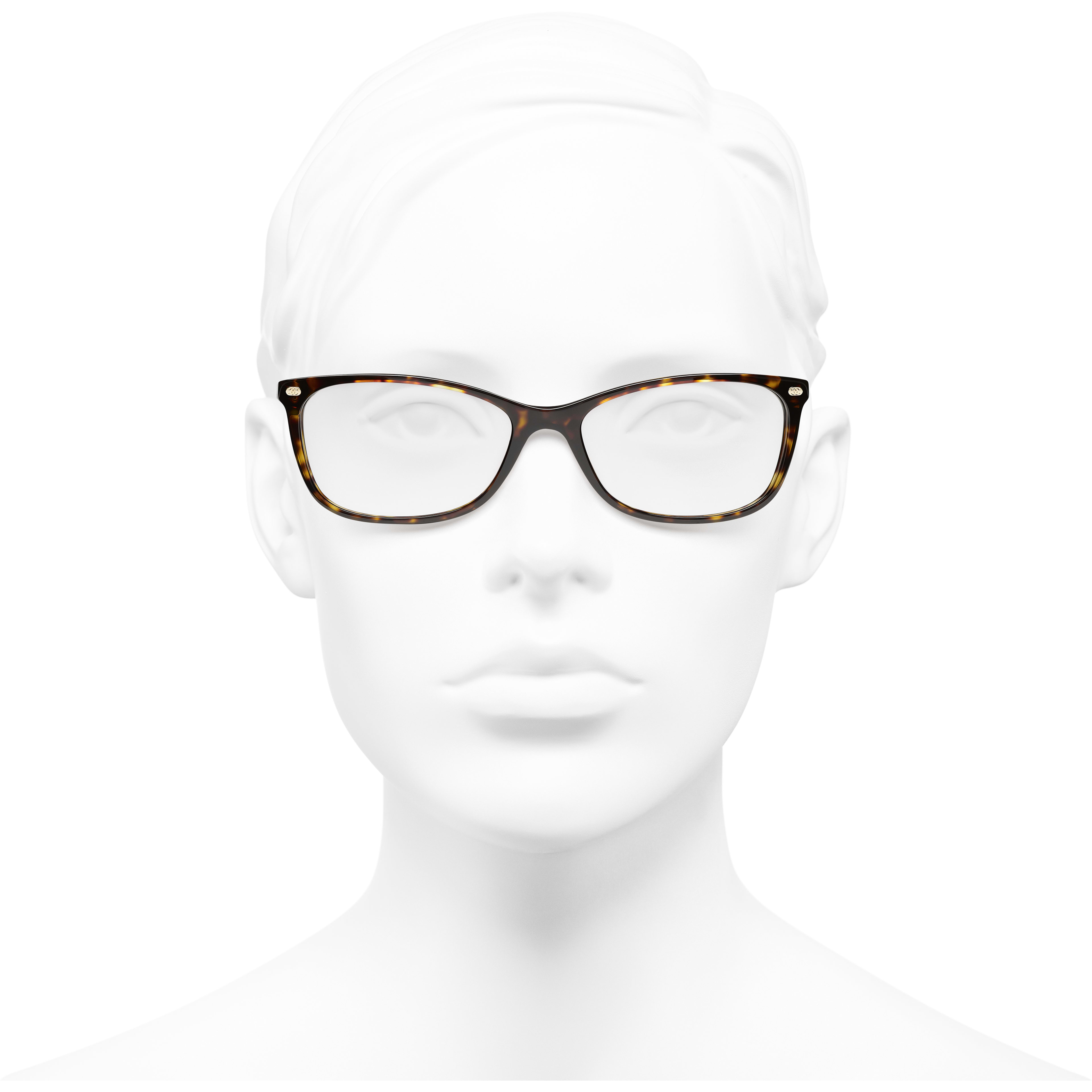 Rectangle Eyeglasses - Dark Tortoise - Acetate & Calfskin - CHANEL - Worn front view - see standard sized version