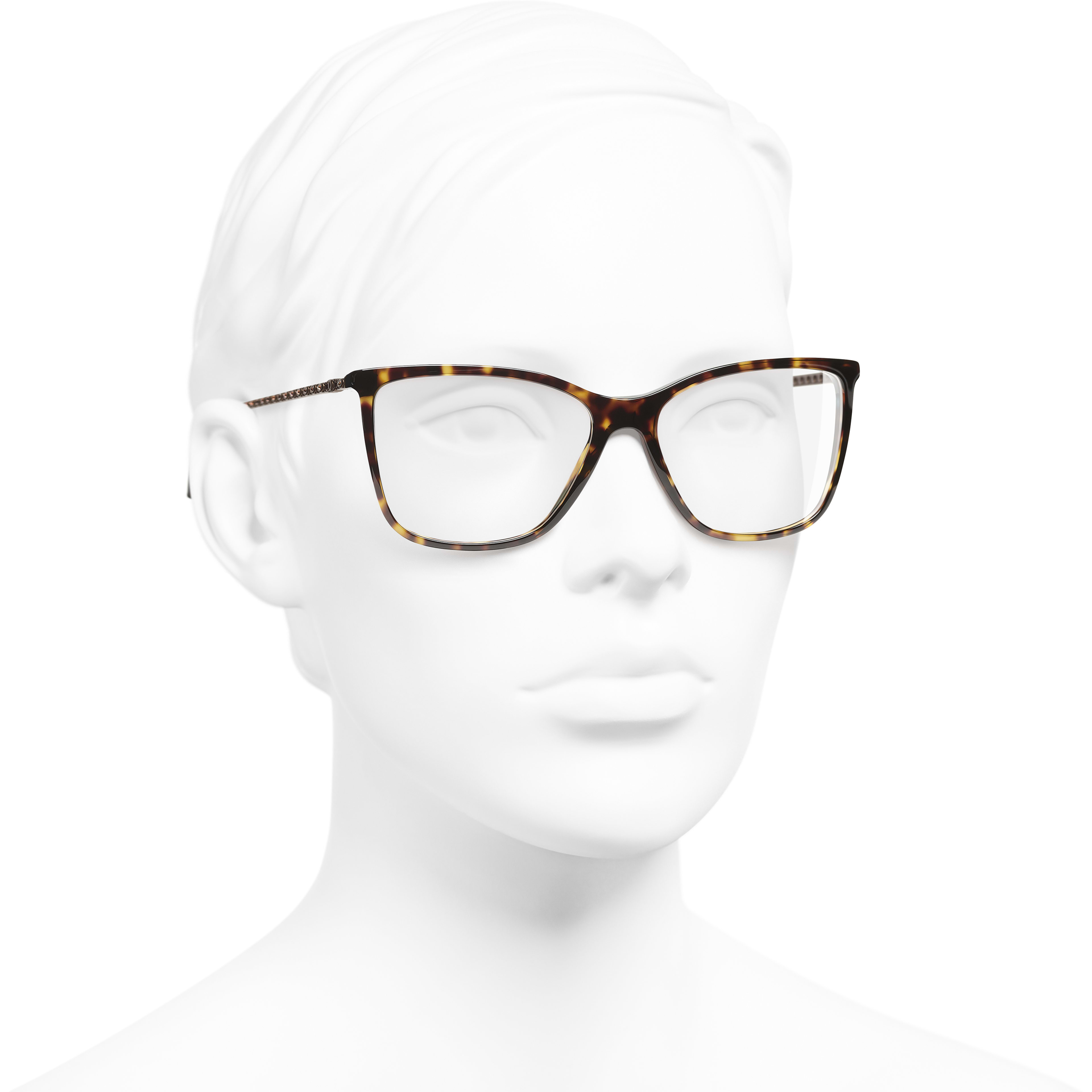 Rectangle Eyeglasses - Dark Tortoise - Acetate & Diamanté - CHANEL - Worn 3/4 view - see standard sized version
