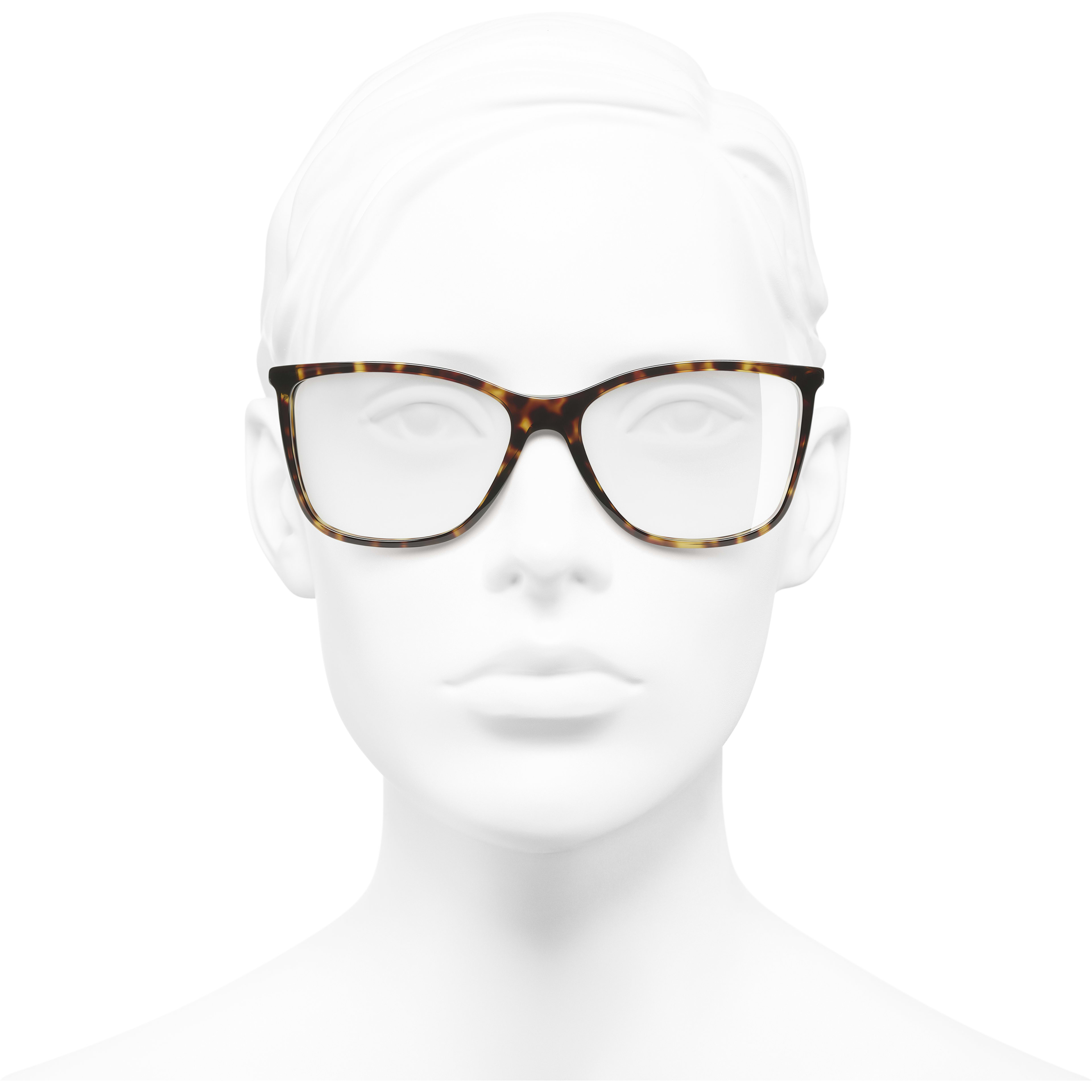 Rectangle Eyeglasses - Dark Tortoise - Acetate & Diamanté - CHANEL - Worn front view - see standard sized version