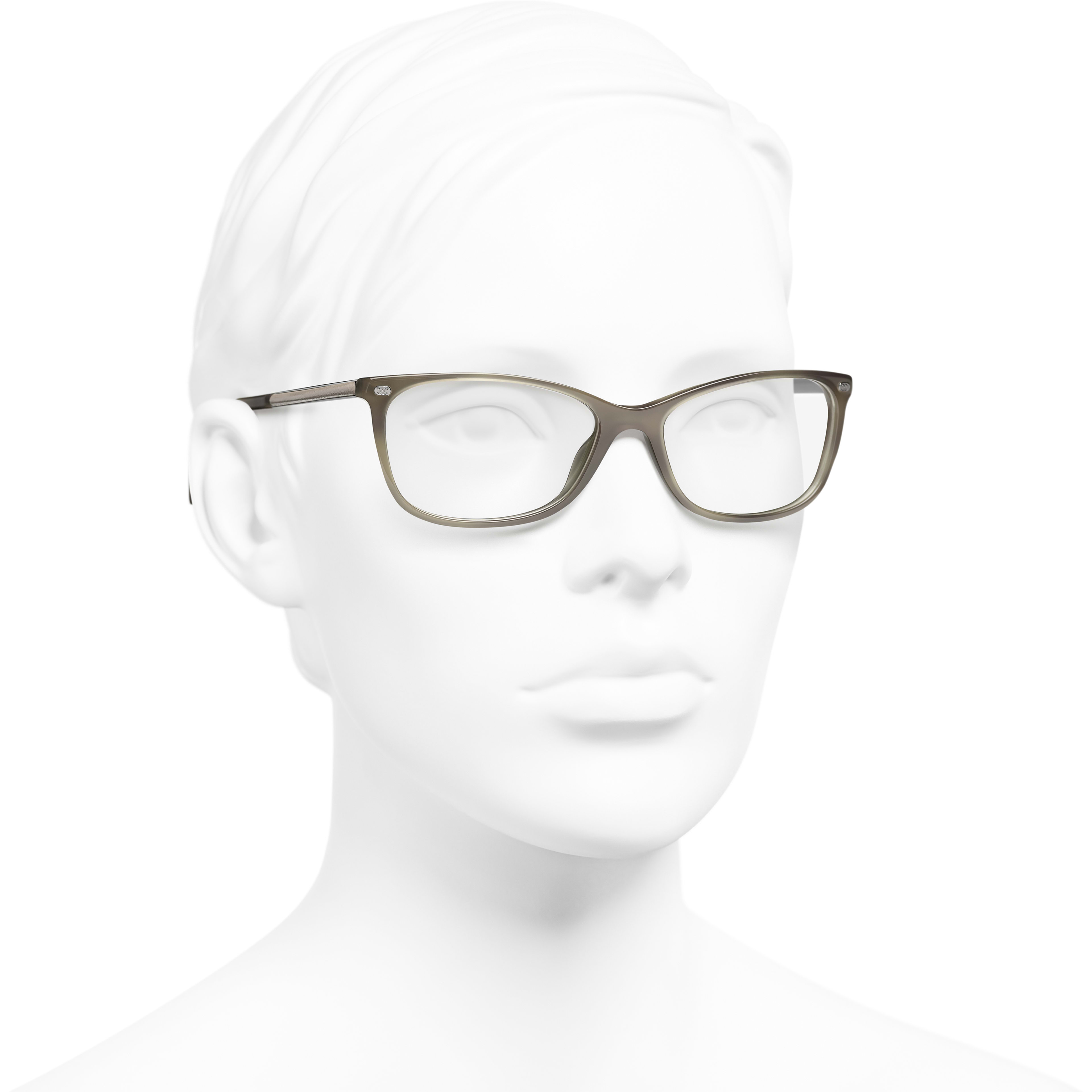 Rectangle Eyeglasses - Grey - Acetate & Calfskin - CHANEL - Worn 3/4 view - see standard sized version