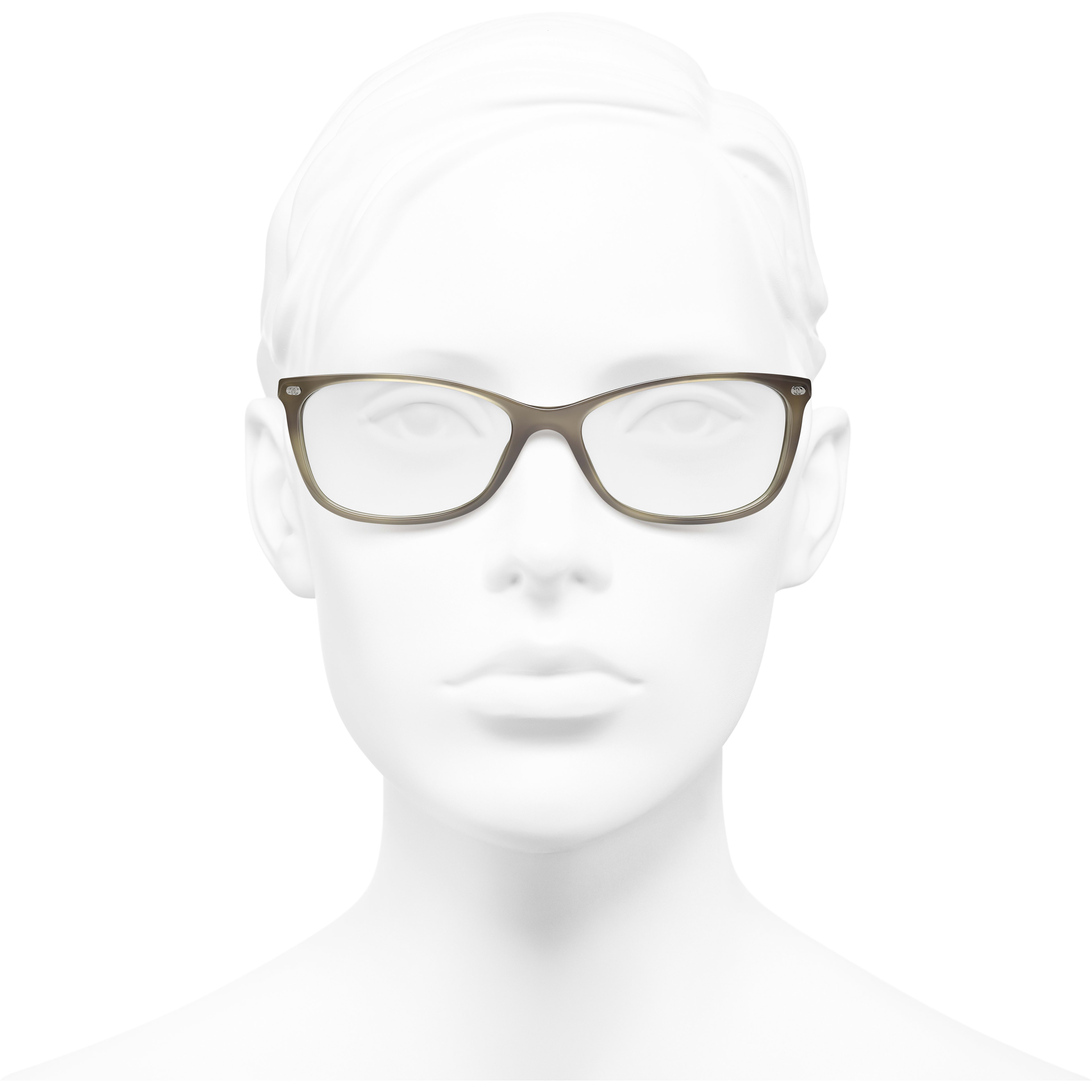 Rectangle Eyeglasses - Grey - Acetate & Calfskin - CHANEL - Worn front view - see standard sized version