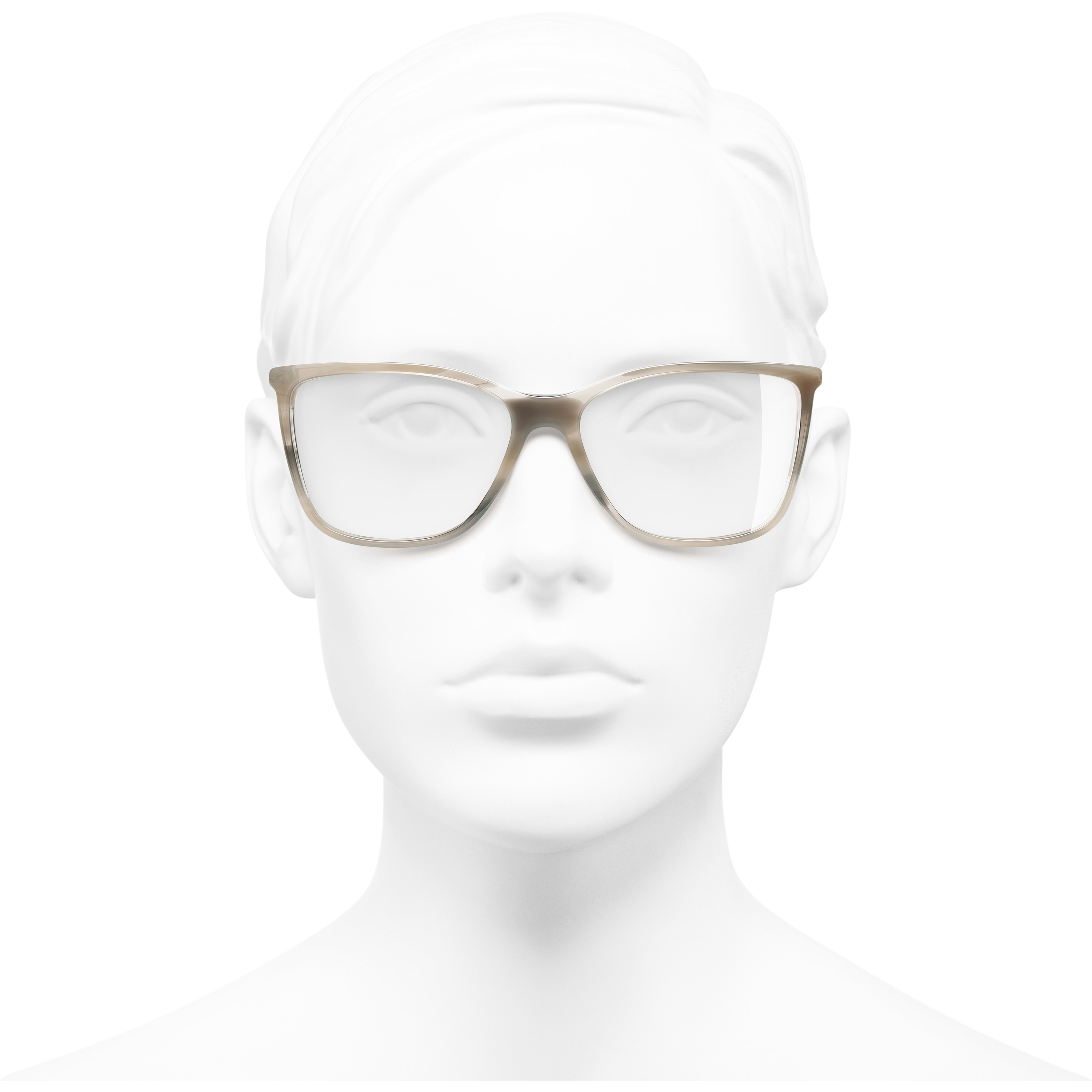 Rectangle Eyeglasses - Grey - Acetate & Strass - Worn front view - see standard sized version