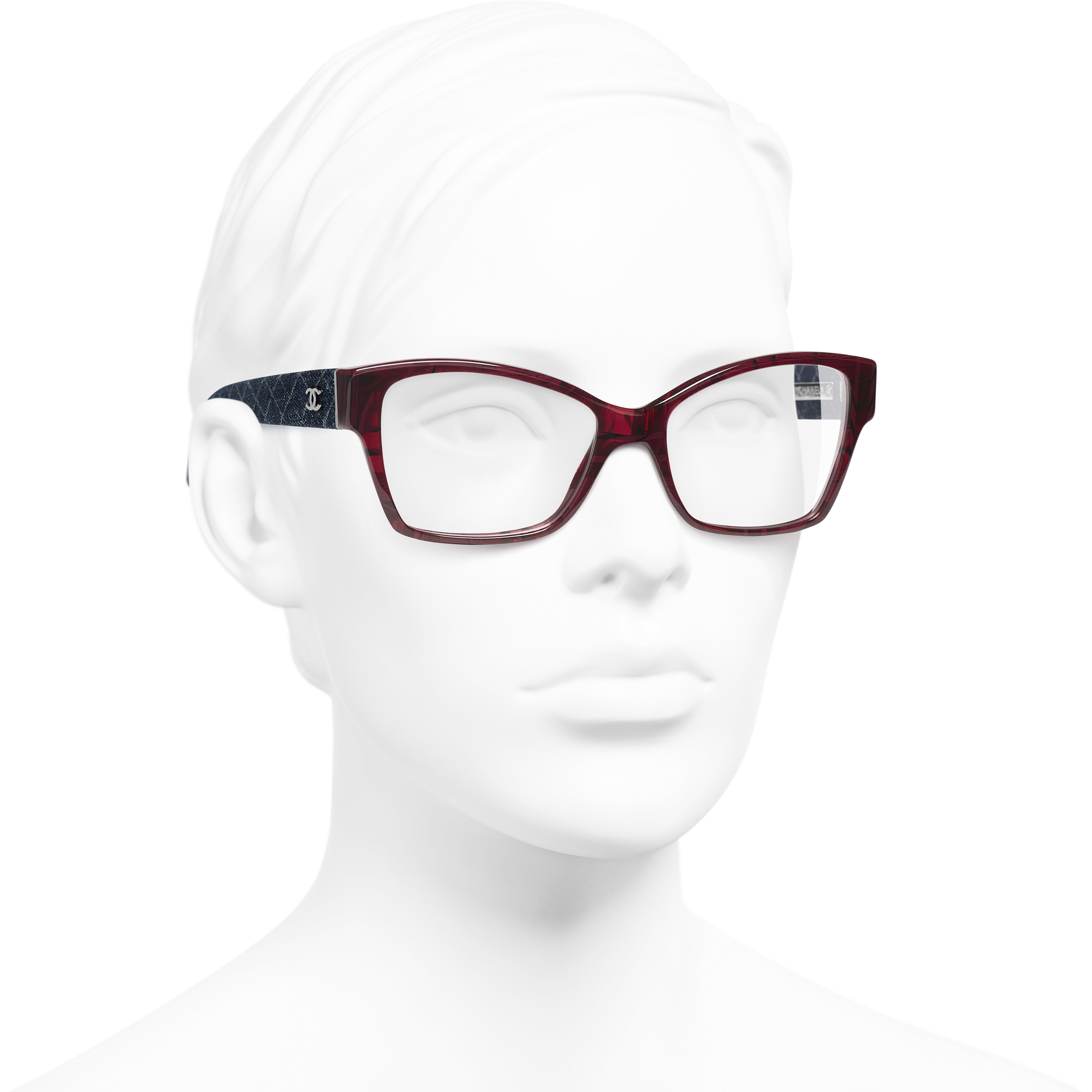 Rectangle Eyeglasses - Red & Dark Blue - Acetate & Denim - Worn 3/4 view - see standard sized version
