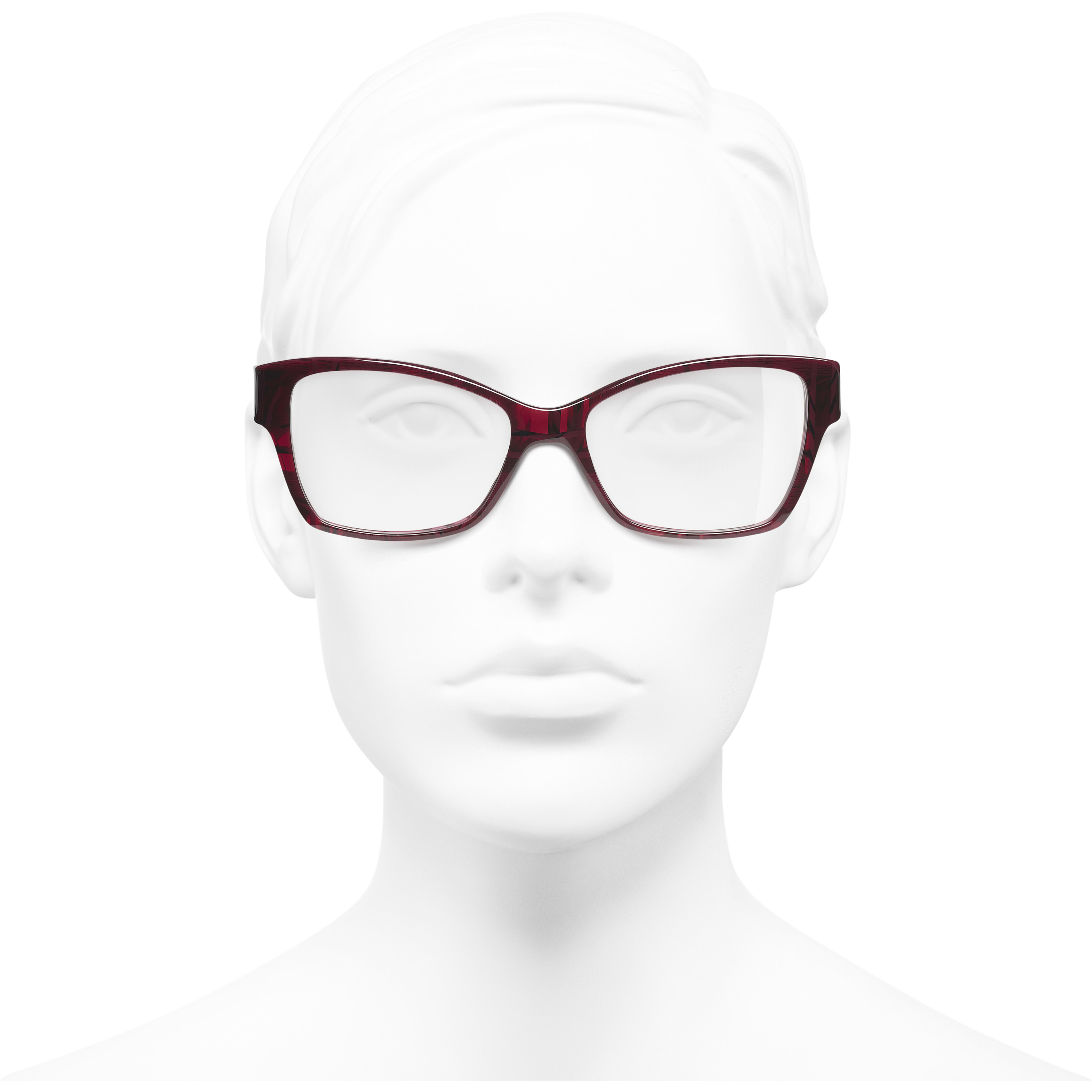 Rectangle Eyeglasses - Red & Dark Blue - Acetate & Denim - Worn front view - see standard sized version