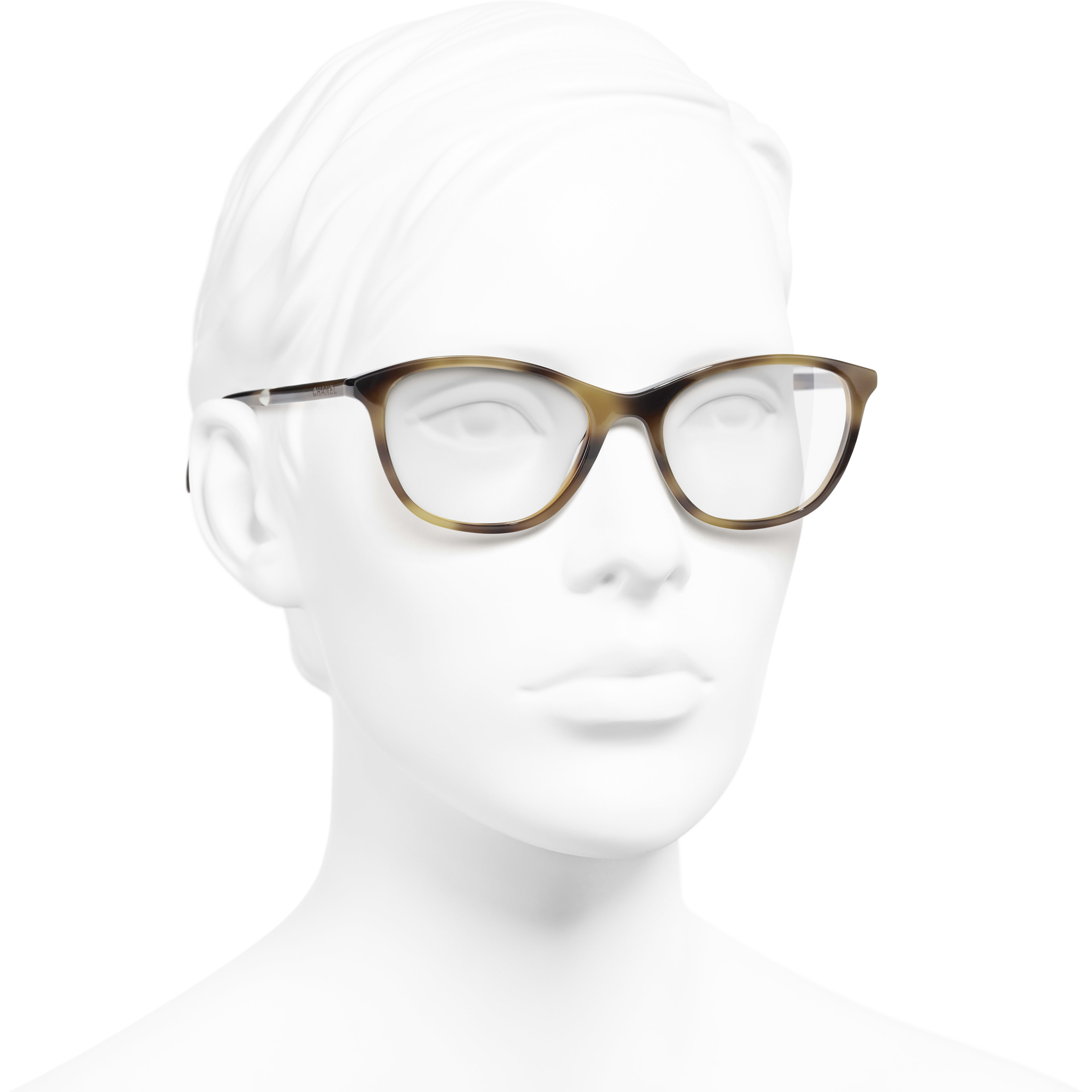 Rectangle Eyeglasses - Tortoise - Acetate & Imitation Pearls - Worn 3/4 view - see standard sized version