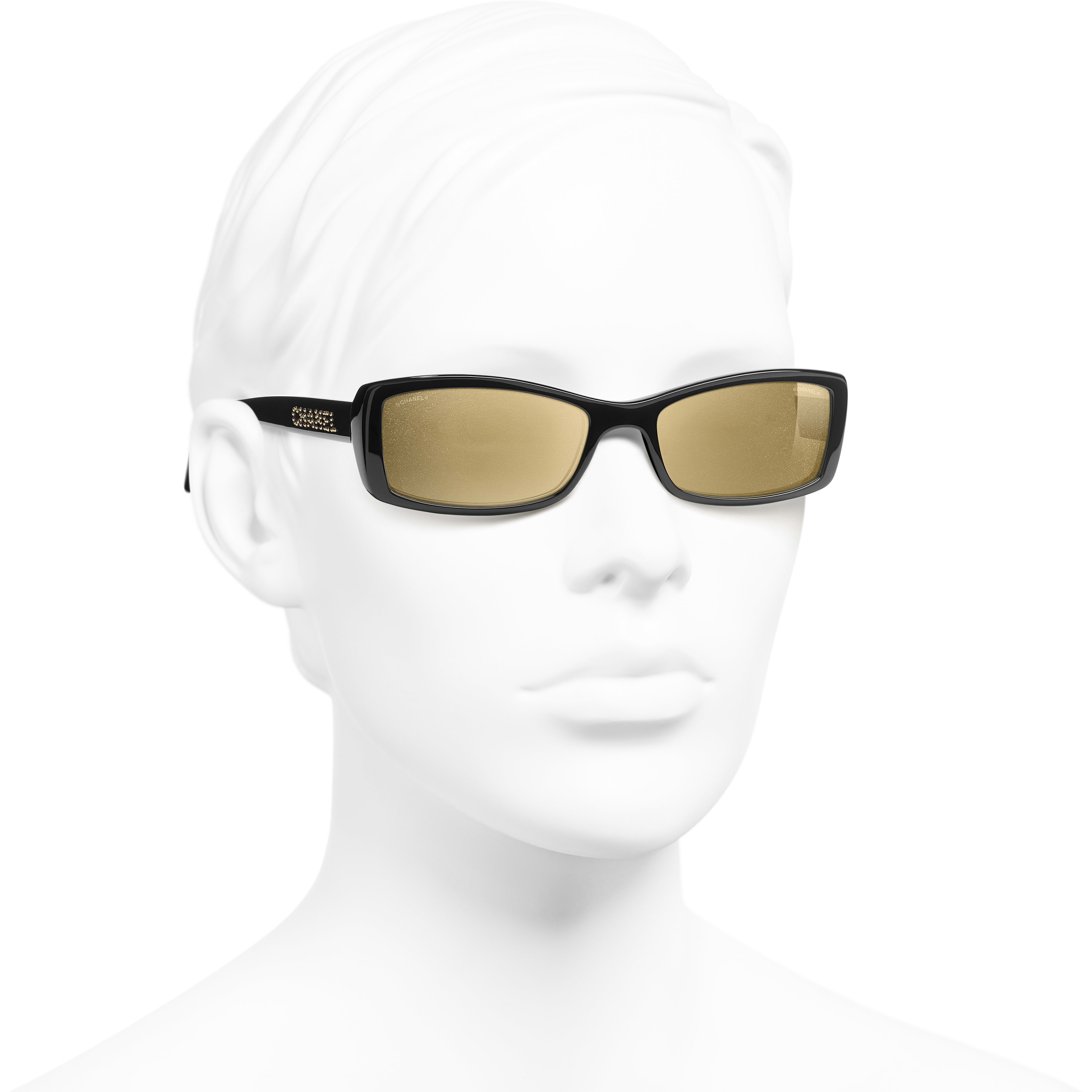 Rectangle Sunglasses - Black - Acetate - Worn 3/4 view - see standard sized version